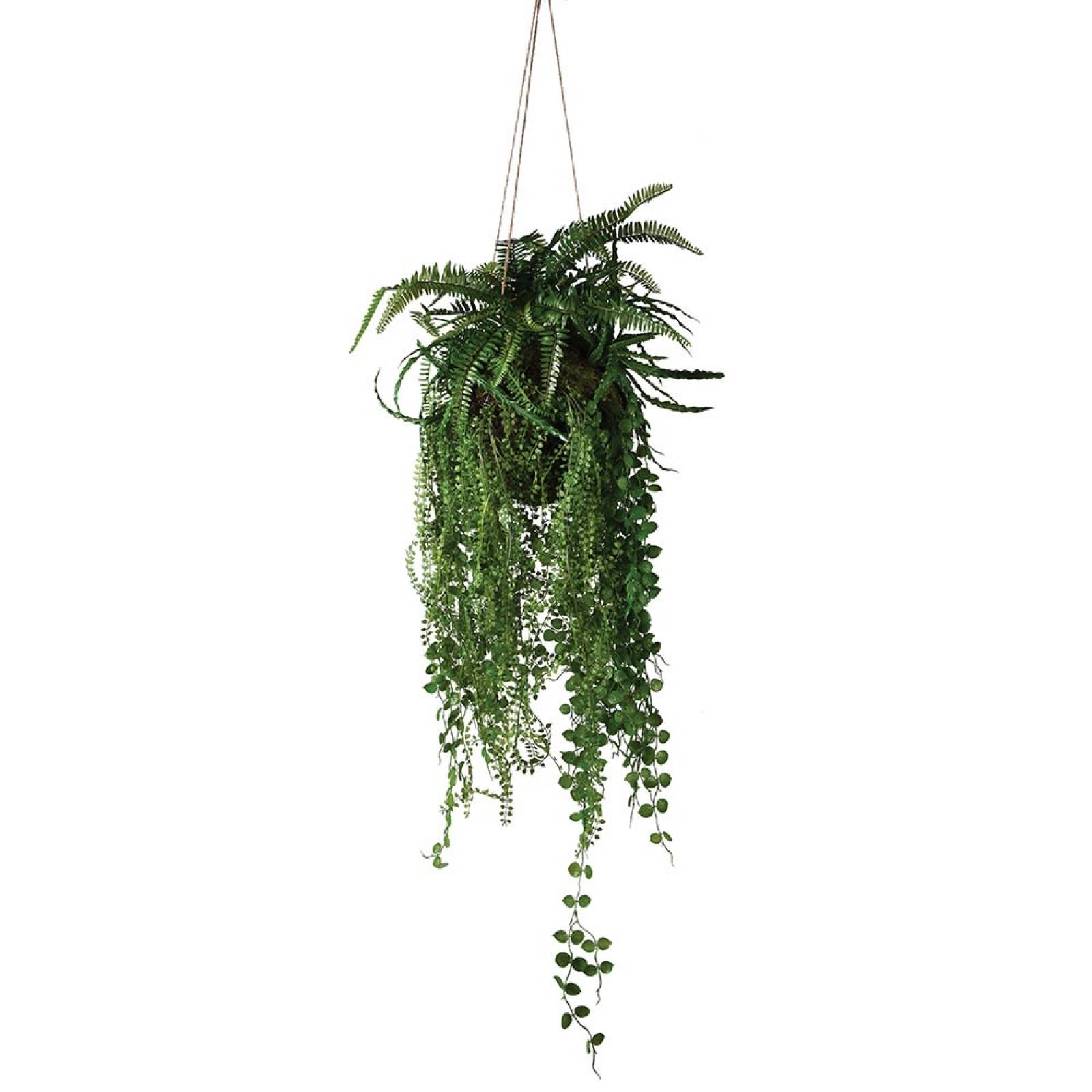 Mixed Fern Faux Hanging Ball Plant