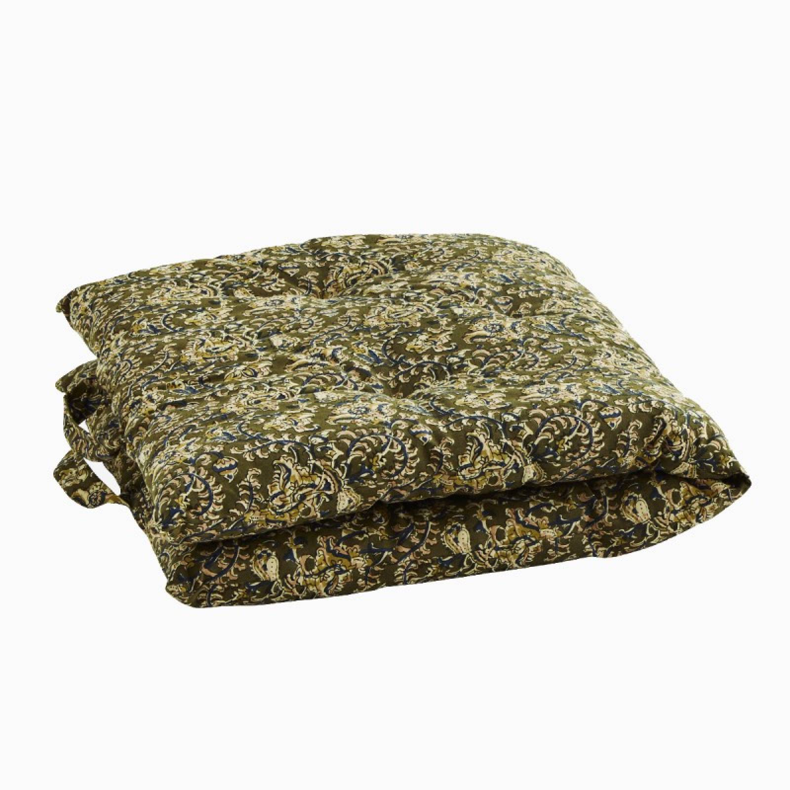 Printed Single Cotton Folding Cushion In Olive Green