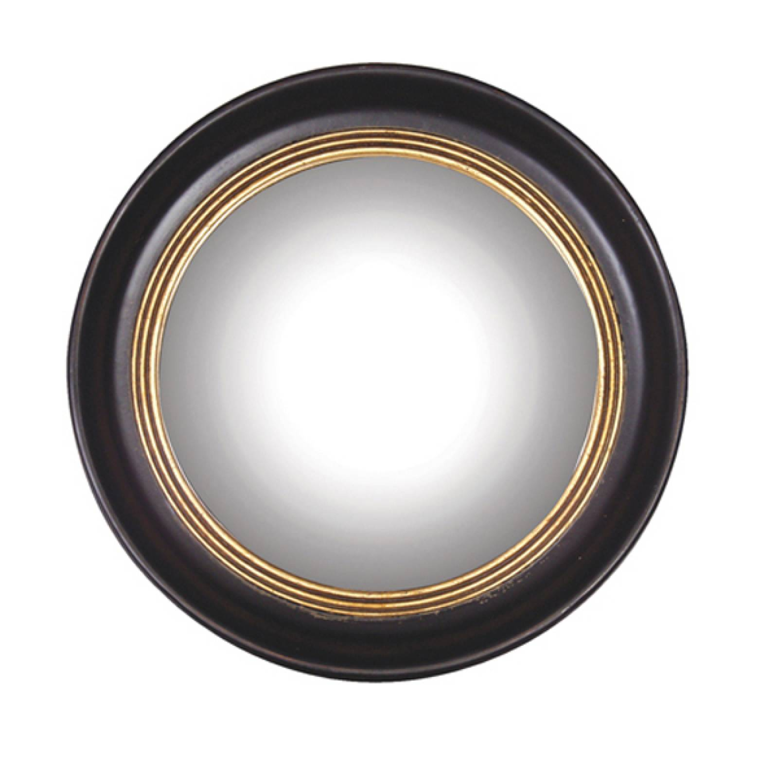 Round Convex Mirror With Black & Gold Frame D:53cm