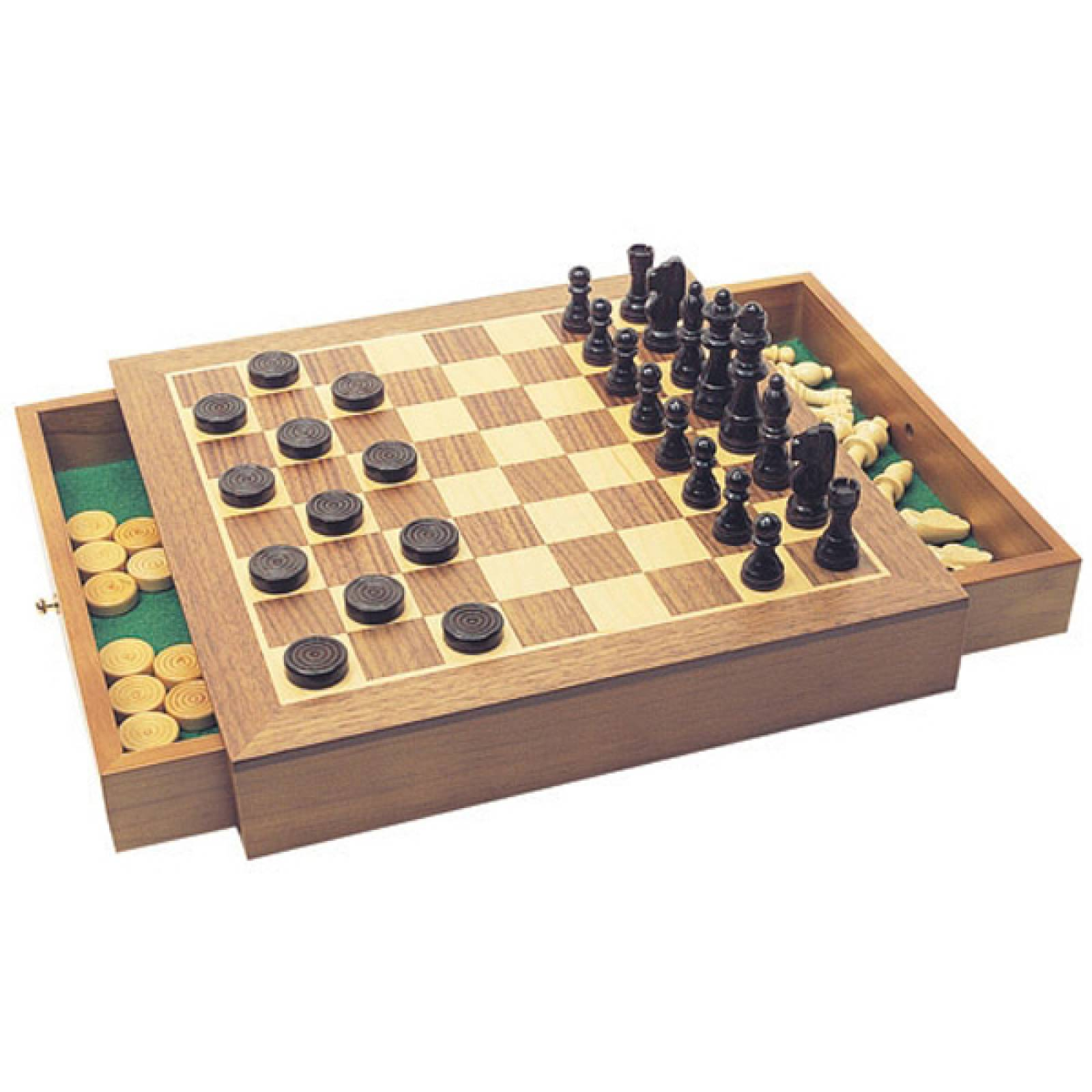 Deluxe Chess And Draughts In Box With Drawer