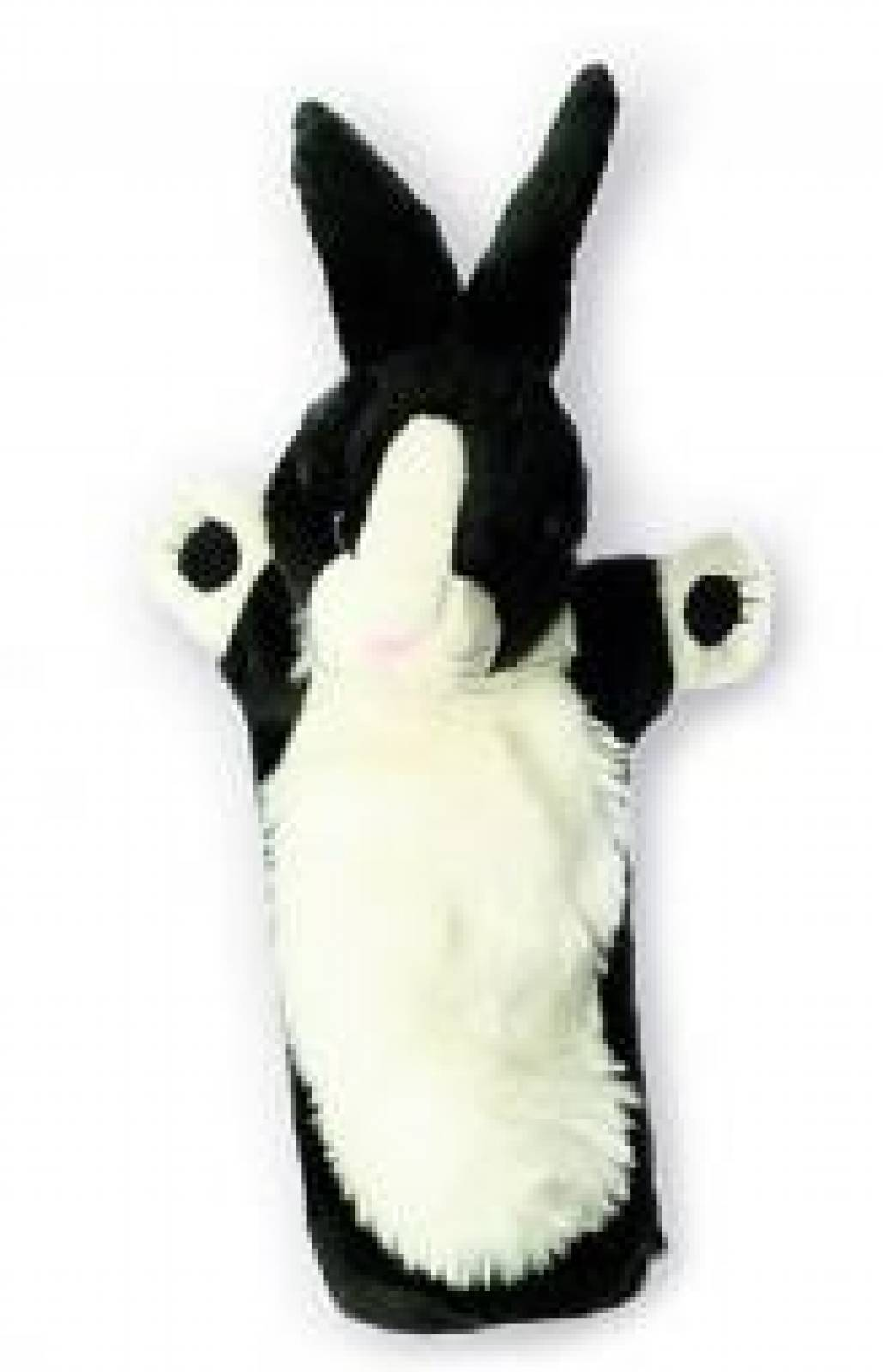 BLACK AND WHITE RABBIT Long Sleeved Glove Puppet