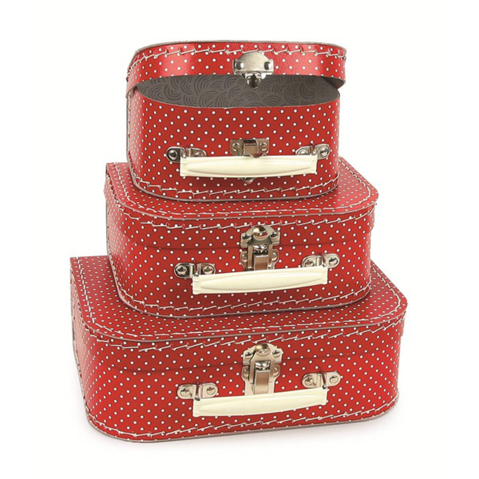 Red And White Spotty Cardboard Suitcase SMALL