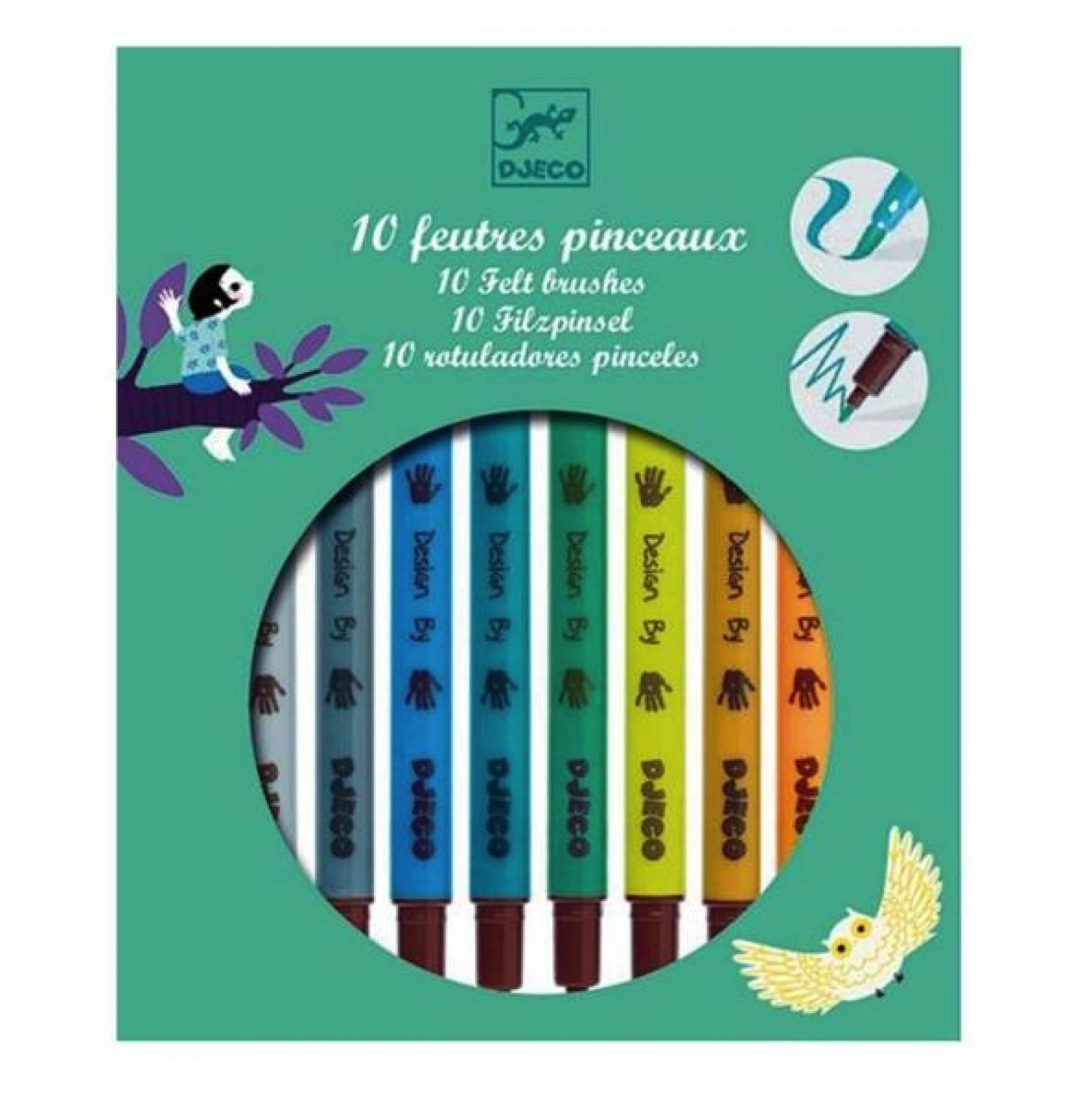 Felt Tip Pens Pack Of 10 Subtle Colours By Djeco