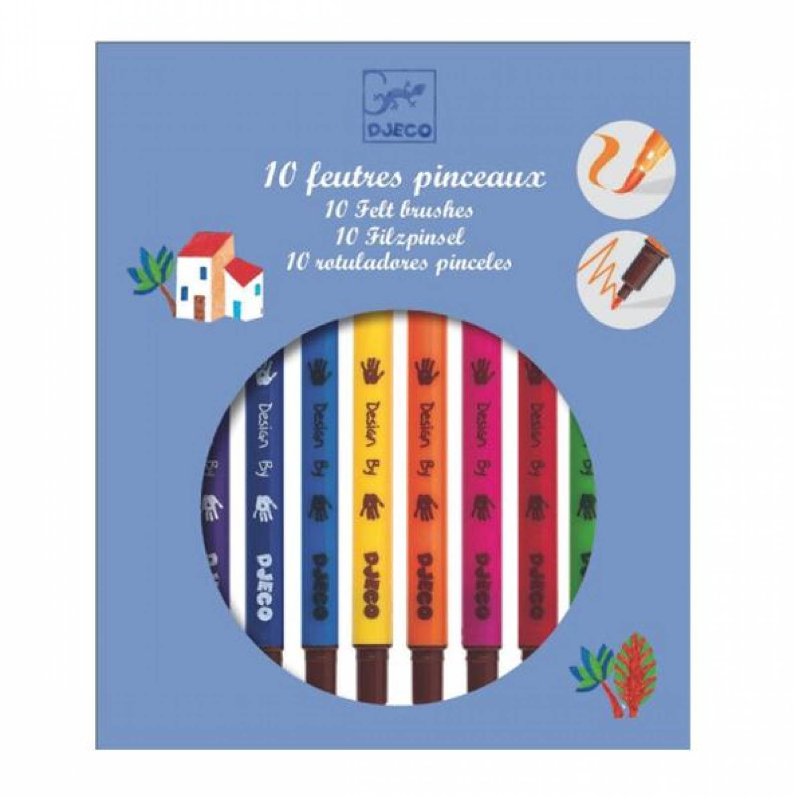 Felt Tip Pens Pack Of 10 Bold Colours By Djeco