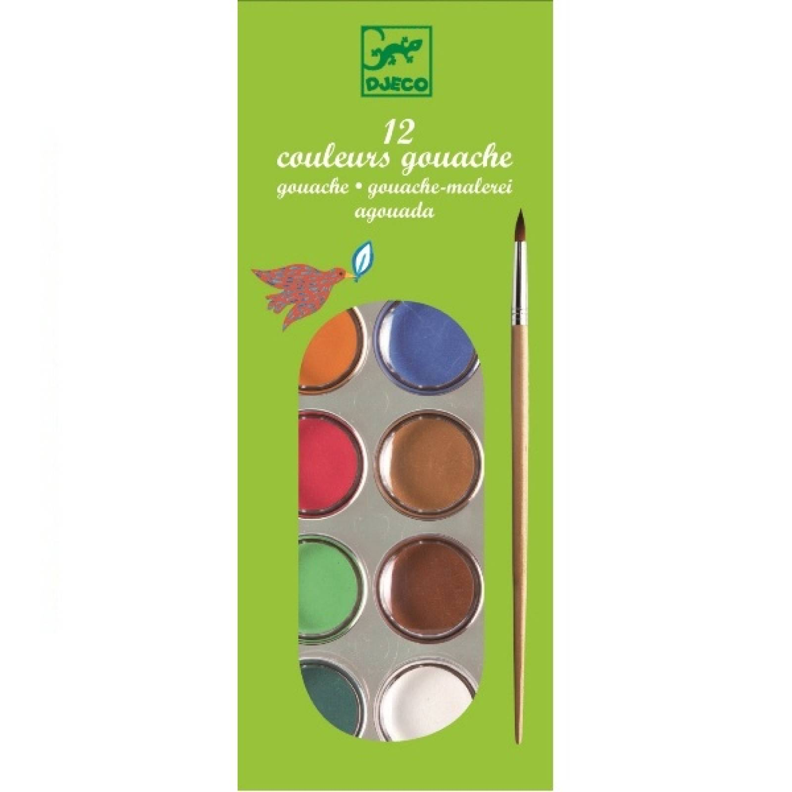 Paint Box Set Of 12 Gouache Colours With Brush By Djeco