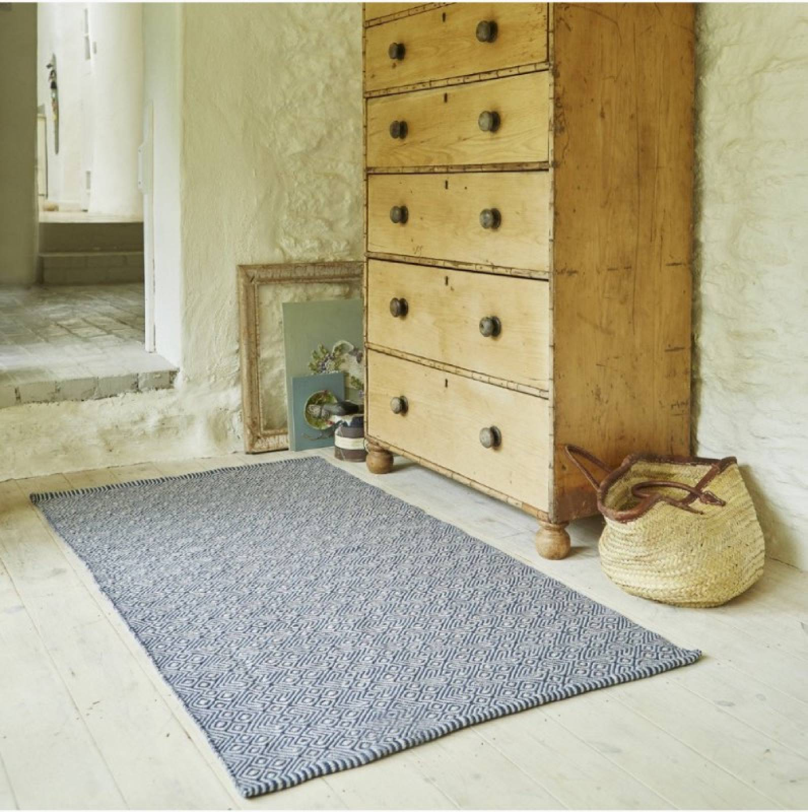 Provence Navy 110cm x 60cm Recycled Bottle Rug thumbnails