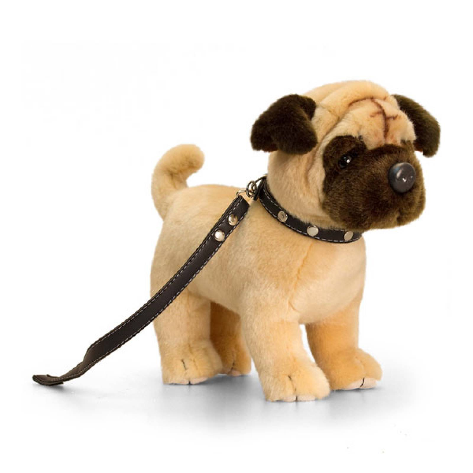 Standing Pug Soft Toy On Lead 30cm