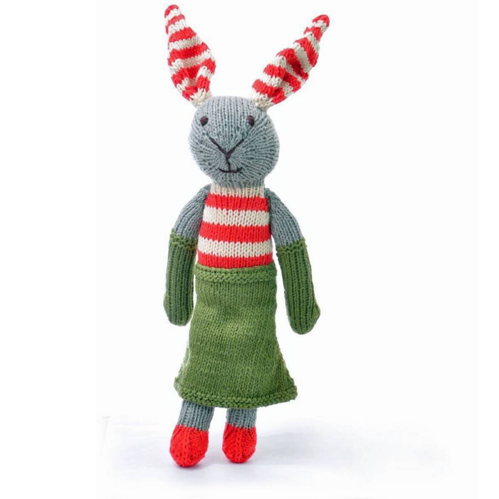 Rabbit in Green Skirt Hand Knitted Soft Toy Organic Cotton