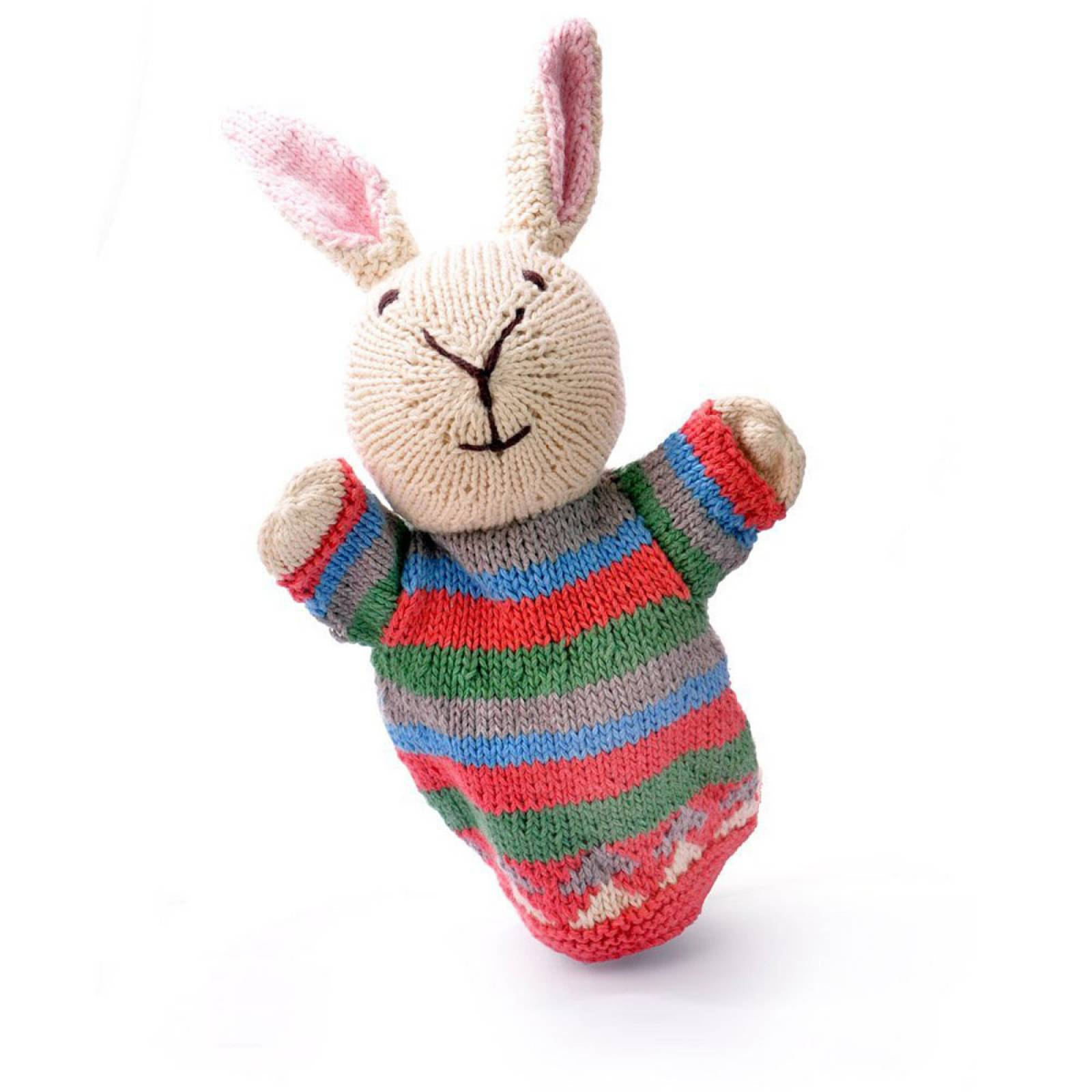 Rabbit - Hand Knitted Glove Puppet Organic Cotton