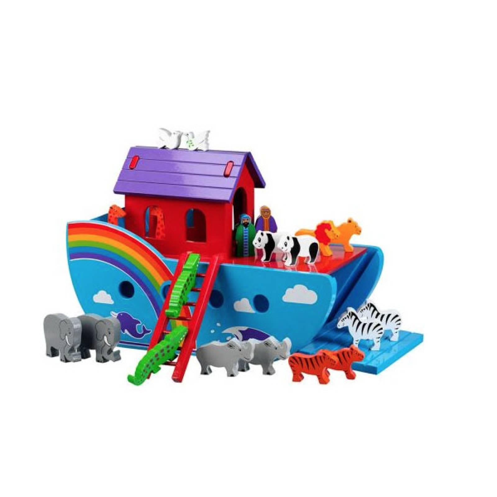 Large Colourful Painted Rainbow Noahs Ark Fairtrade
