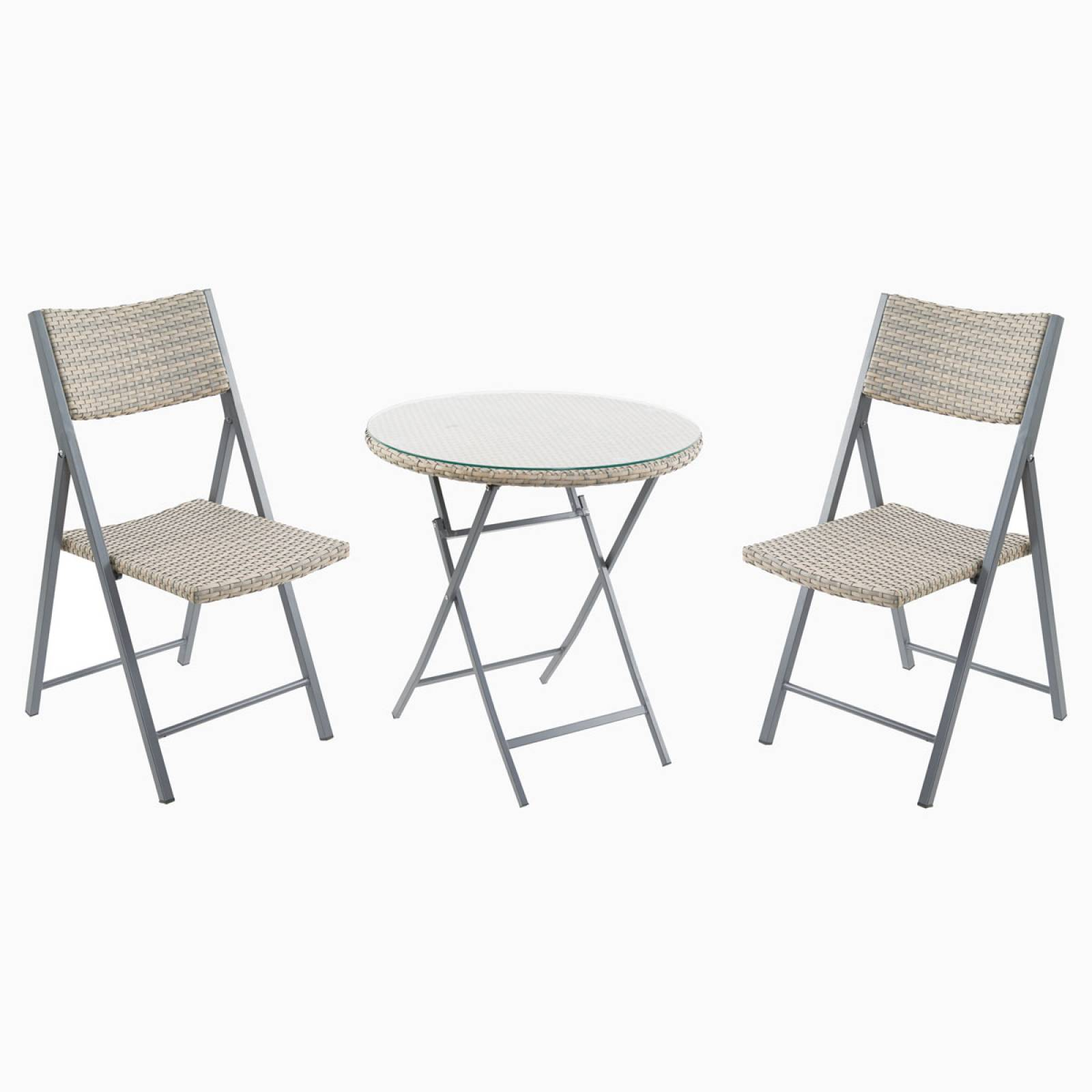 Folding Rattan Bistro Set thumbnails