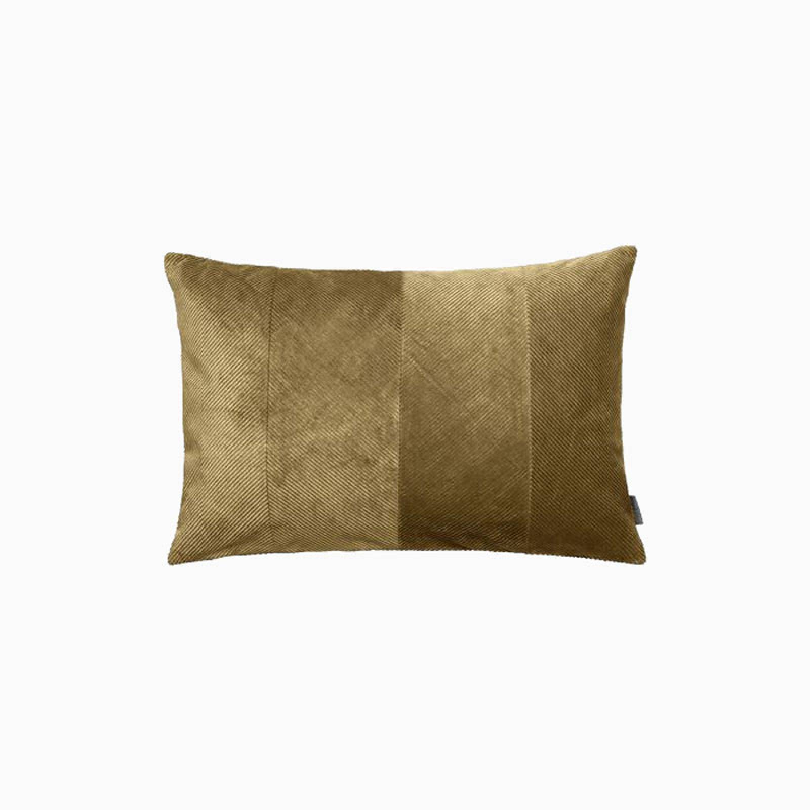 Rectangular Corduroy Cushion In Mustard With Gold Zip thumbnails