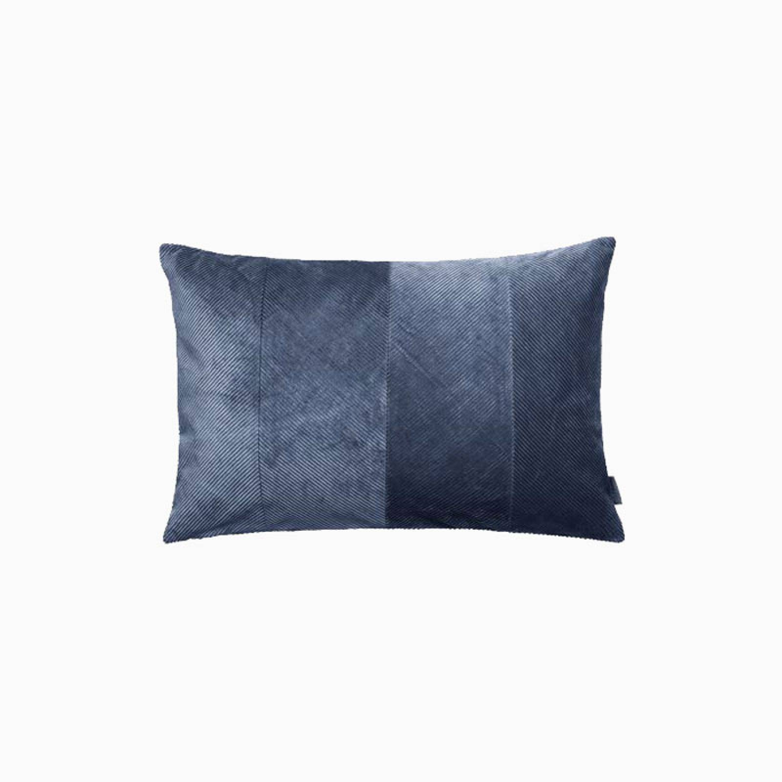 Rectangular Corduroy Cushion In Royal Blue With Gold Zip