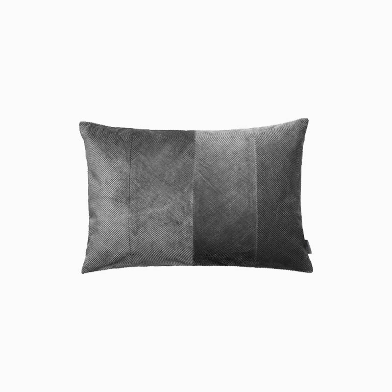 Rectangular Corduroy Cushion In Steel With Gold Zip