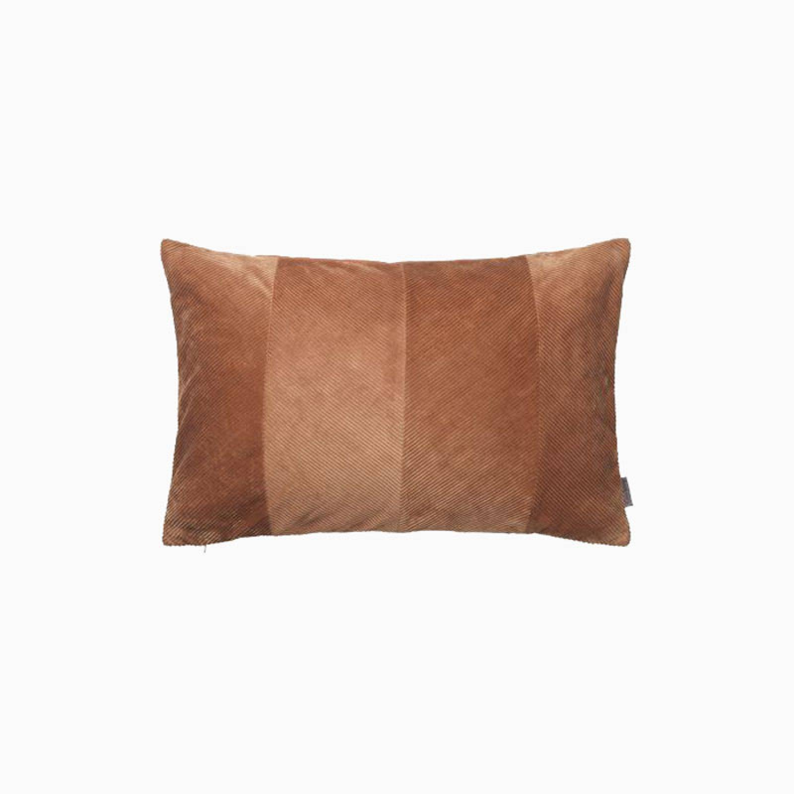 Rectangular Corduroy Cushion In Terracotta With Gold Zip