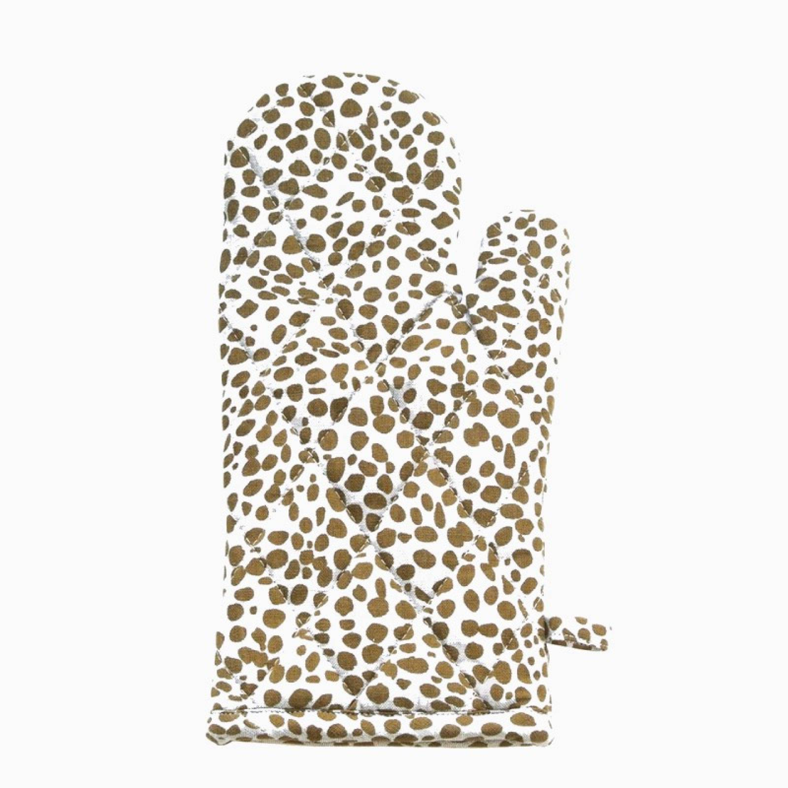 Recycled Cotton Oven Glove In Mustard Animal Print
