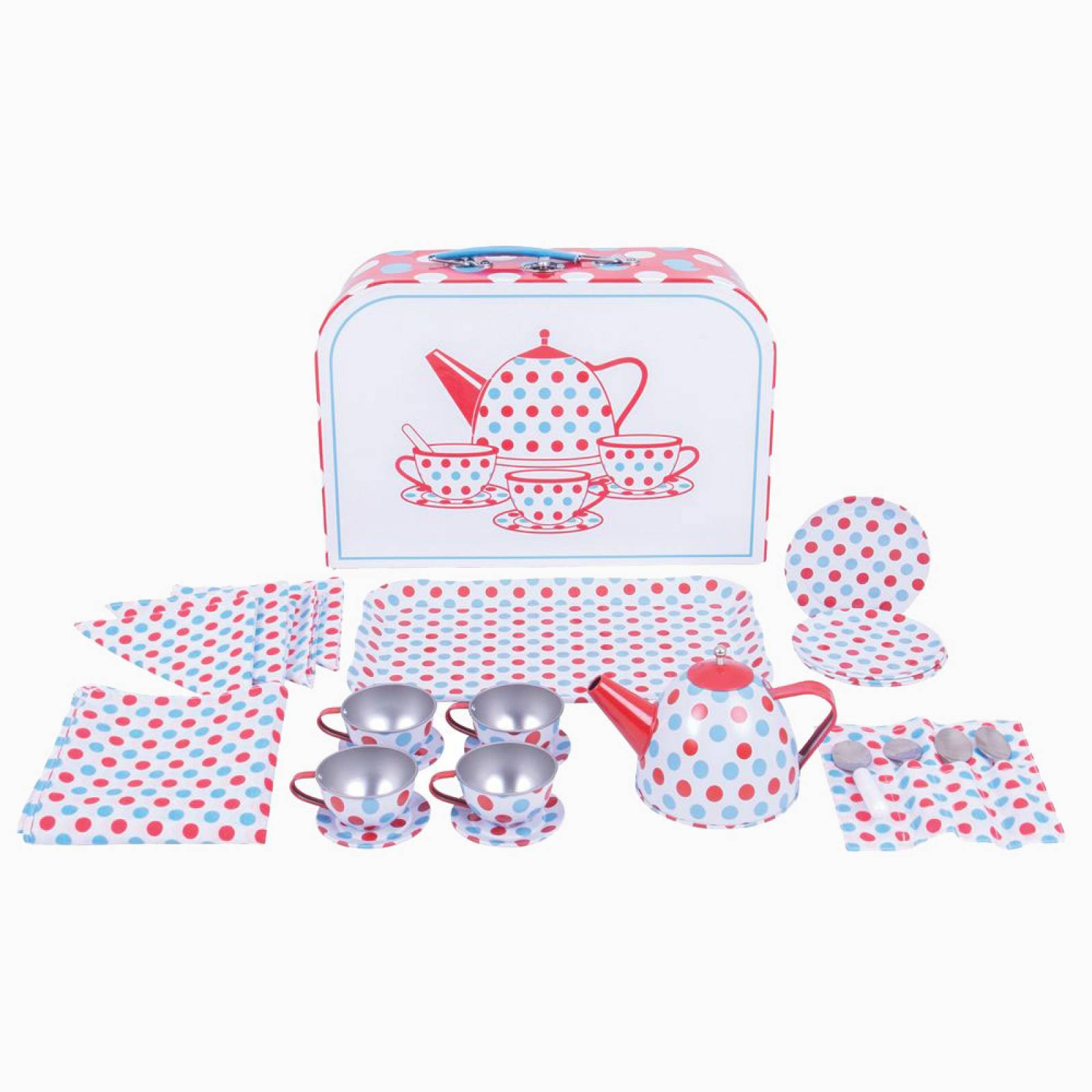 Red & Blue Spotted Tin Tea Set In Carry Case 3+