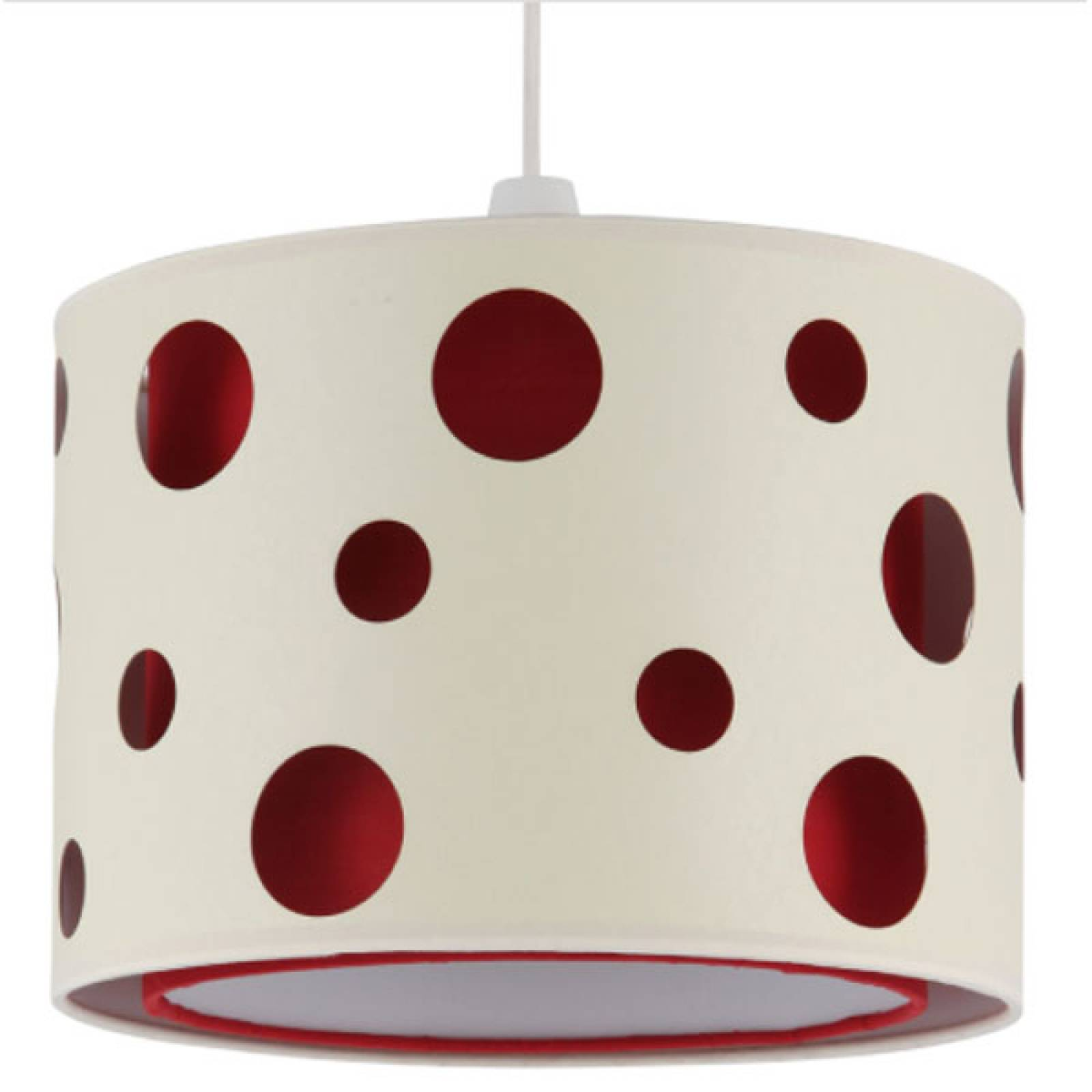 Fabric Drum Lampshade Circles ( red inner ) 30x21cm
