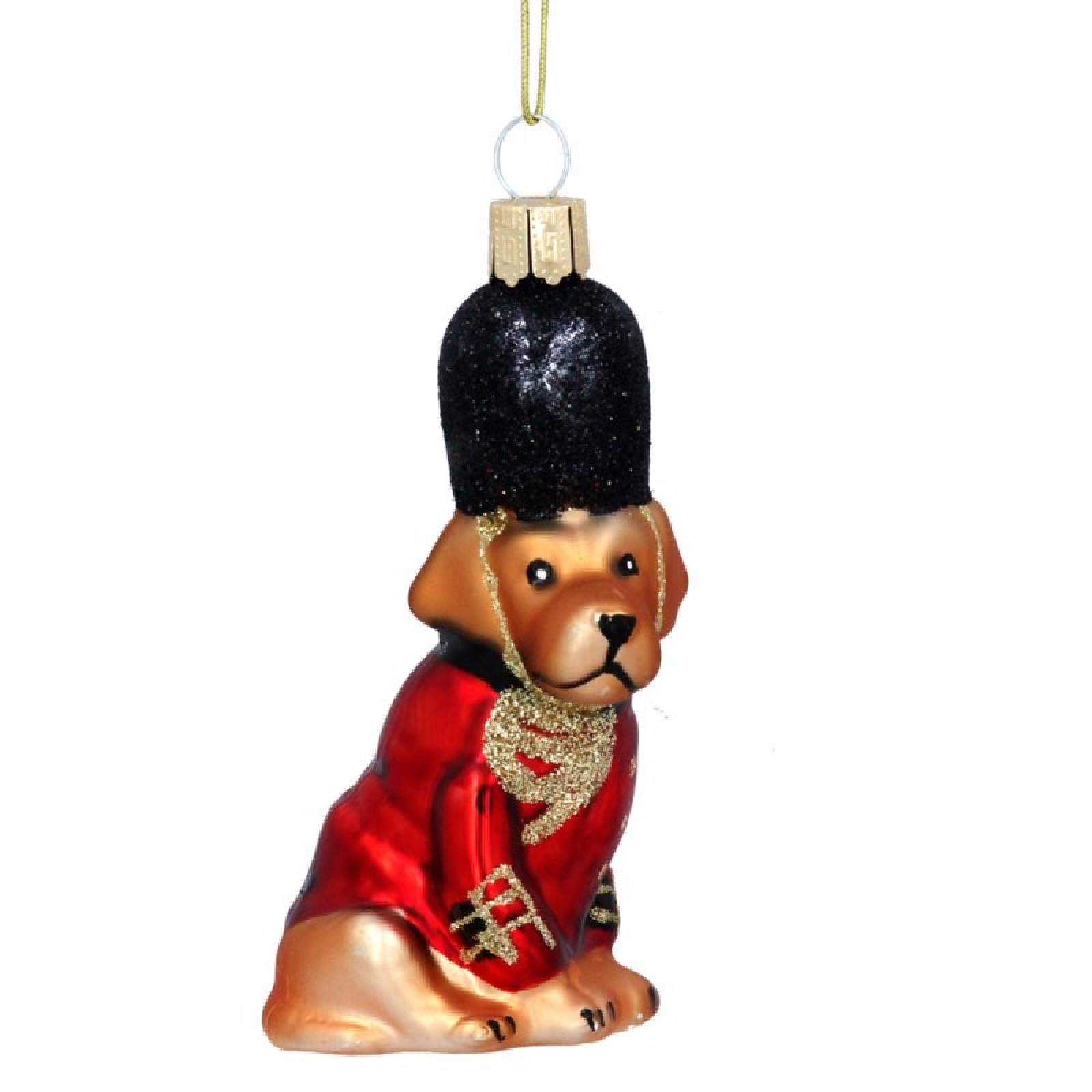 Red Soldier Dog Glass Christmas Decoration