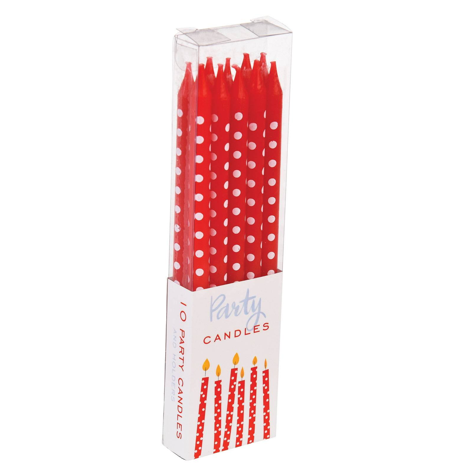 Pack Of 10 Red Spotty Candles