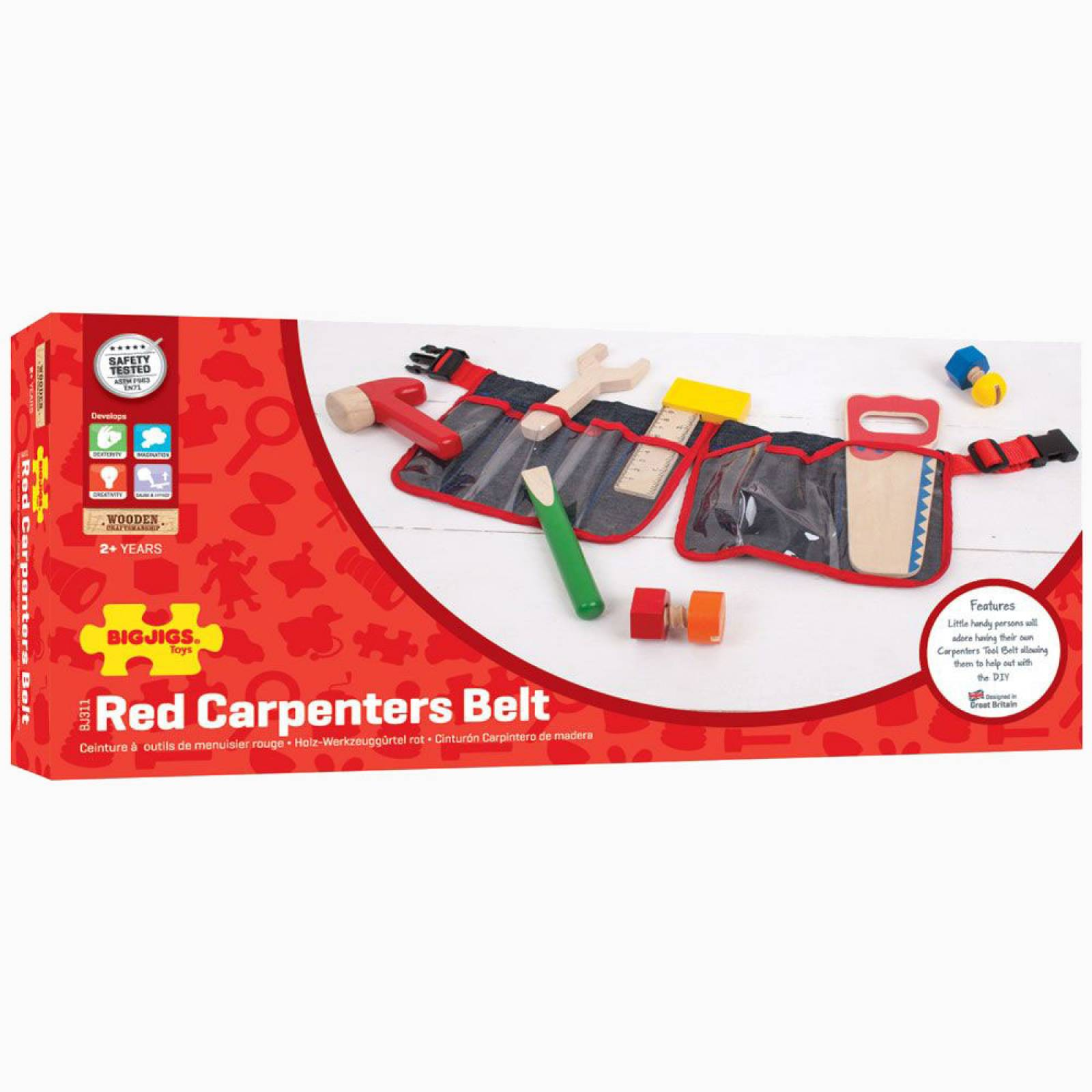 Red Carpenter's Belt With Wooden Tools 3+ thumbnails