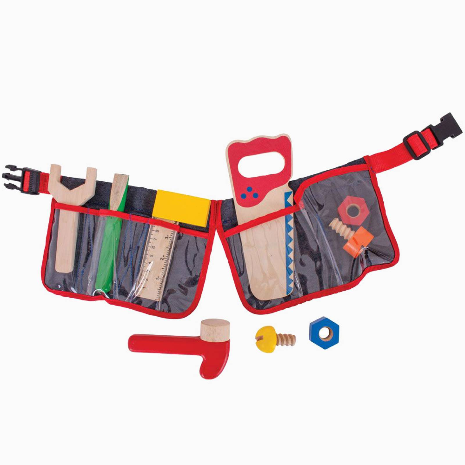 Red Carpenter's Belt With Wooden Tools 3+