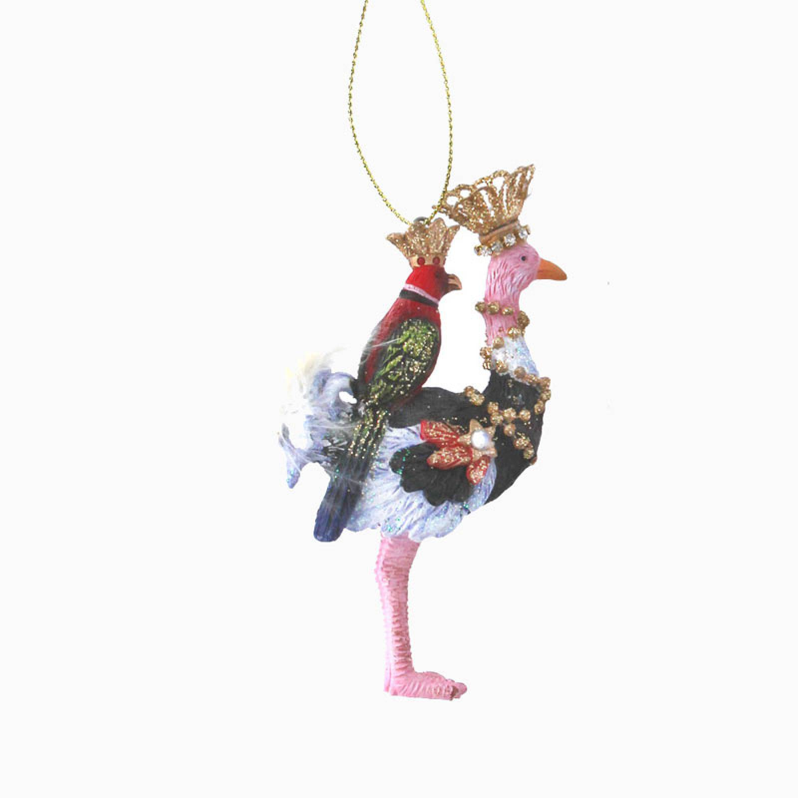 Resin Ostrich With Parrot Christmas Decoration
