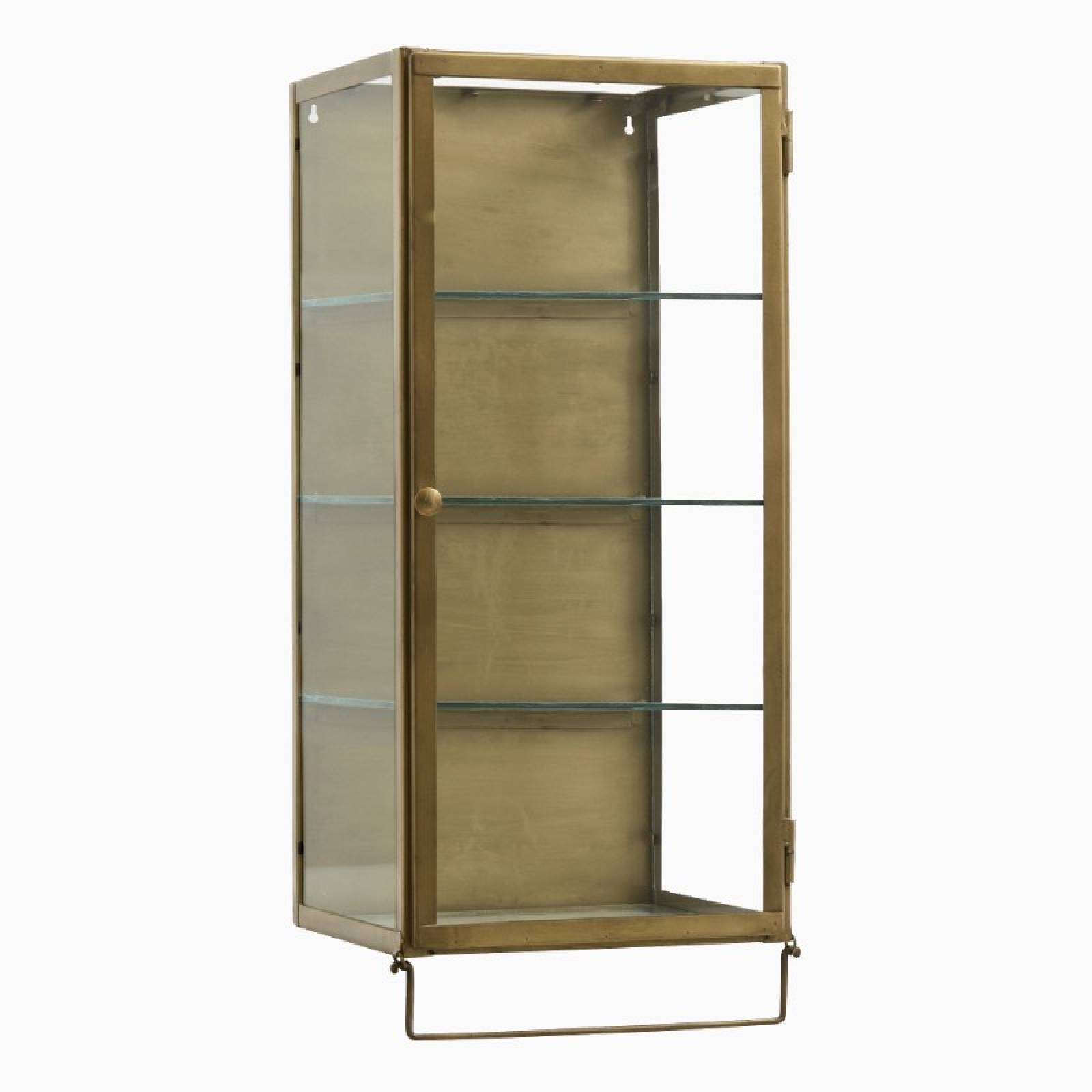 Risa Gold Metal Glazed Cabinet With Rail