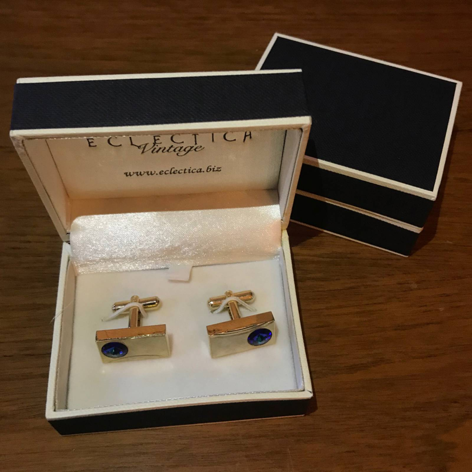 Vintage 1950s Rectangular Gold Plated Cufflinks With Blue Glass thumbnails