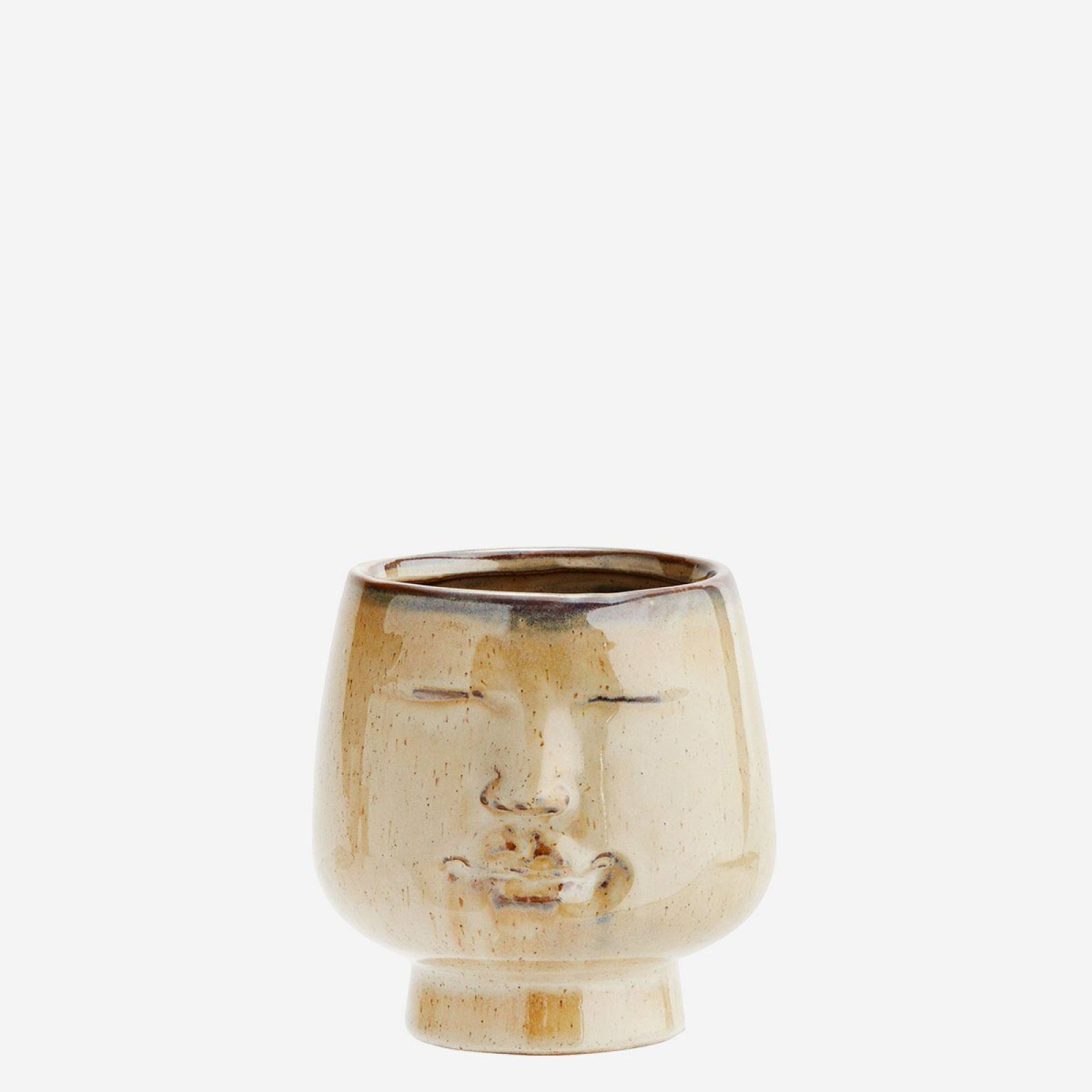 Cream Stoneware Round Face Vase 12cm