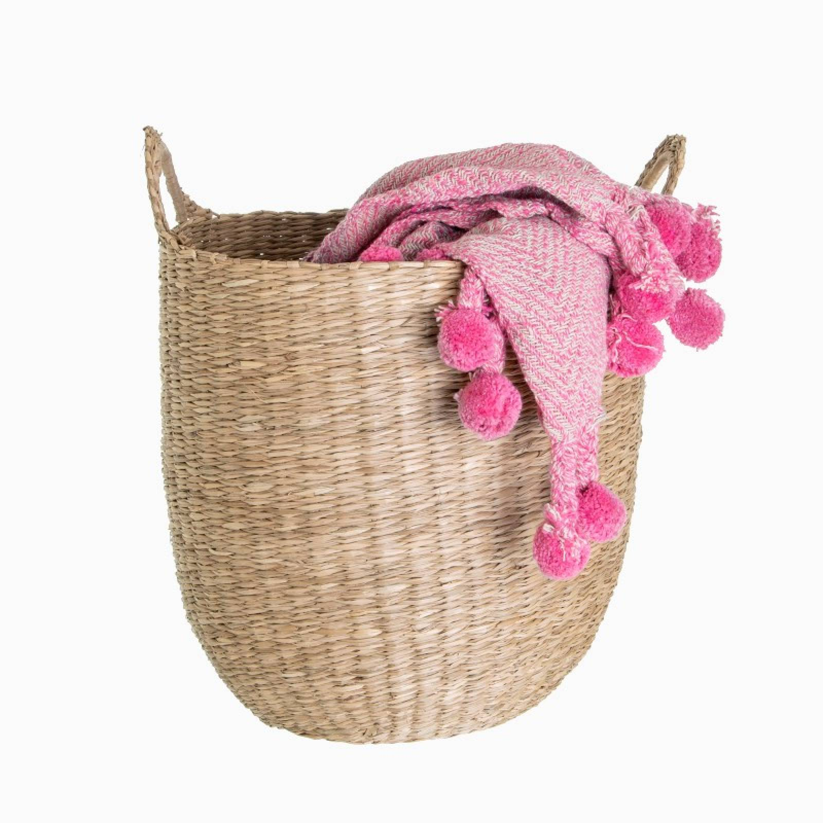 Rounded Woven Seagrass Basket With Handles H:37.5cm thumbnails