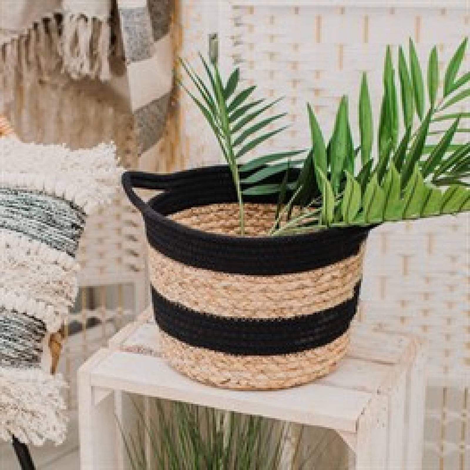 Black Stripe Jute Basket With Handles