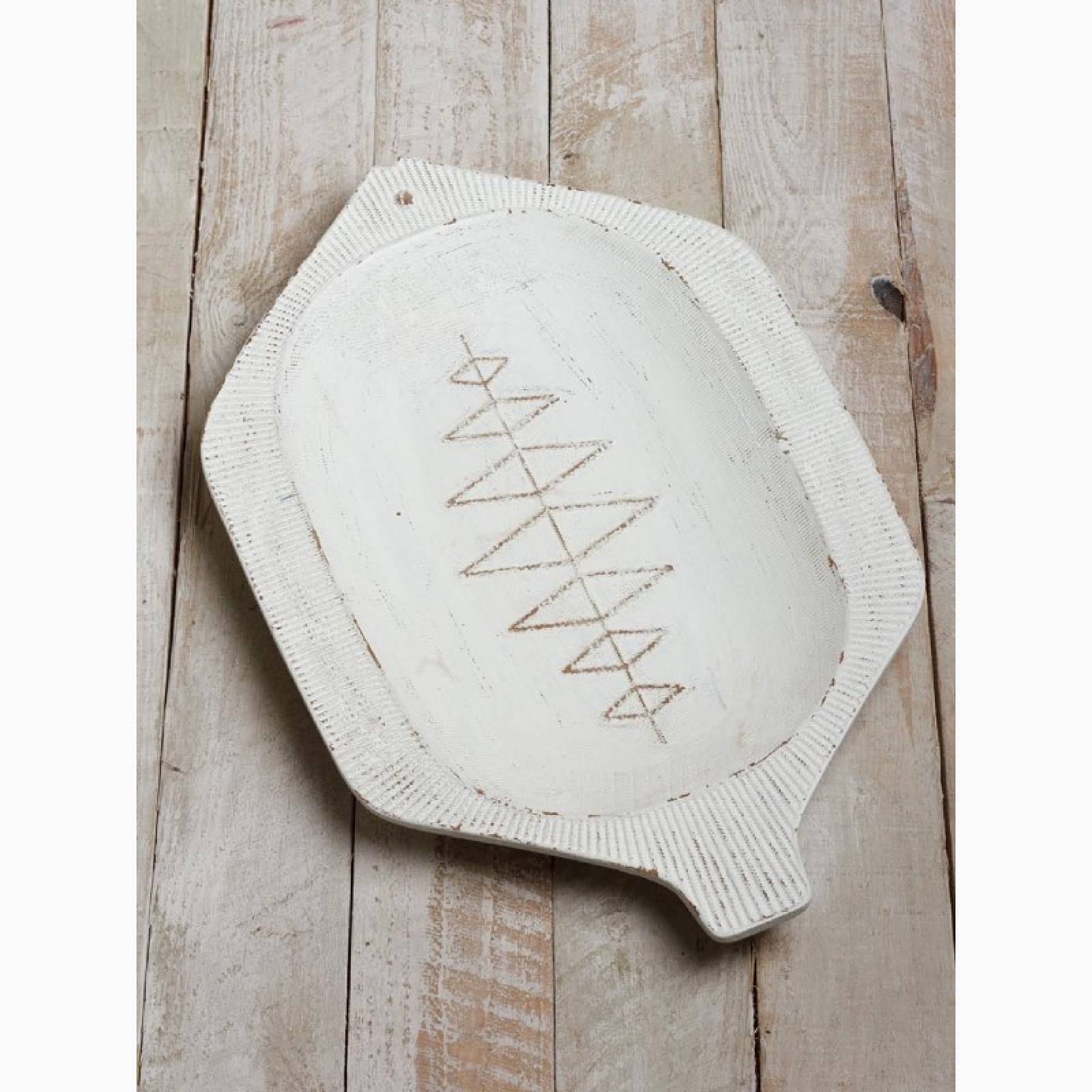 Rustic Wooden White Painted Fish Platter