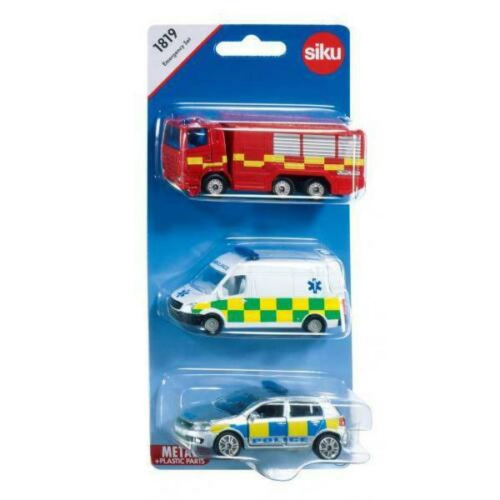 SIKU 3 Car Emergency Vehicle Set thumbnails