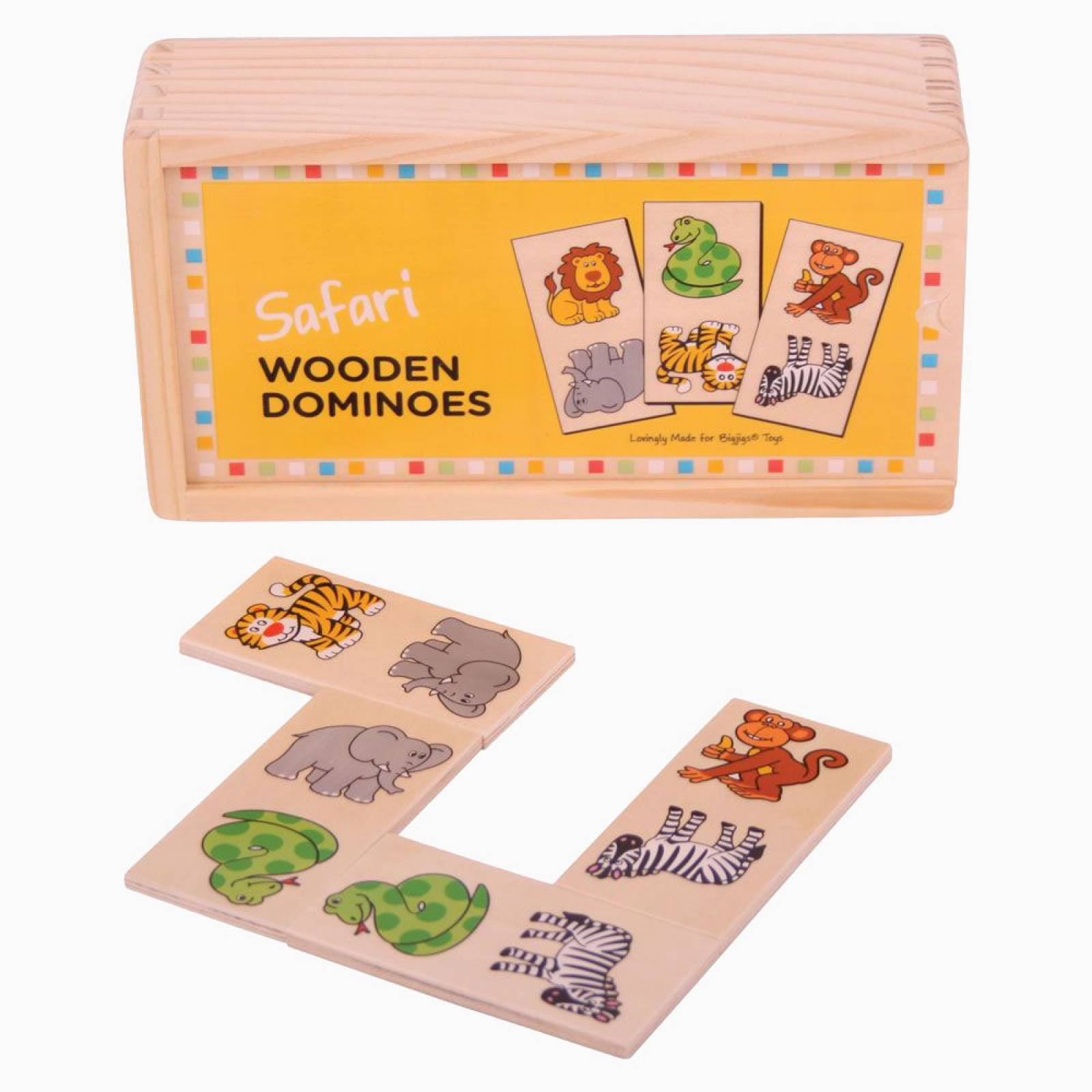 Wooden Childrens Picture Dominoes SAFARI 1+