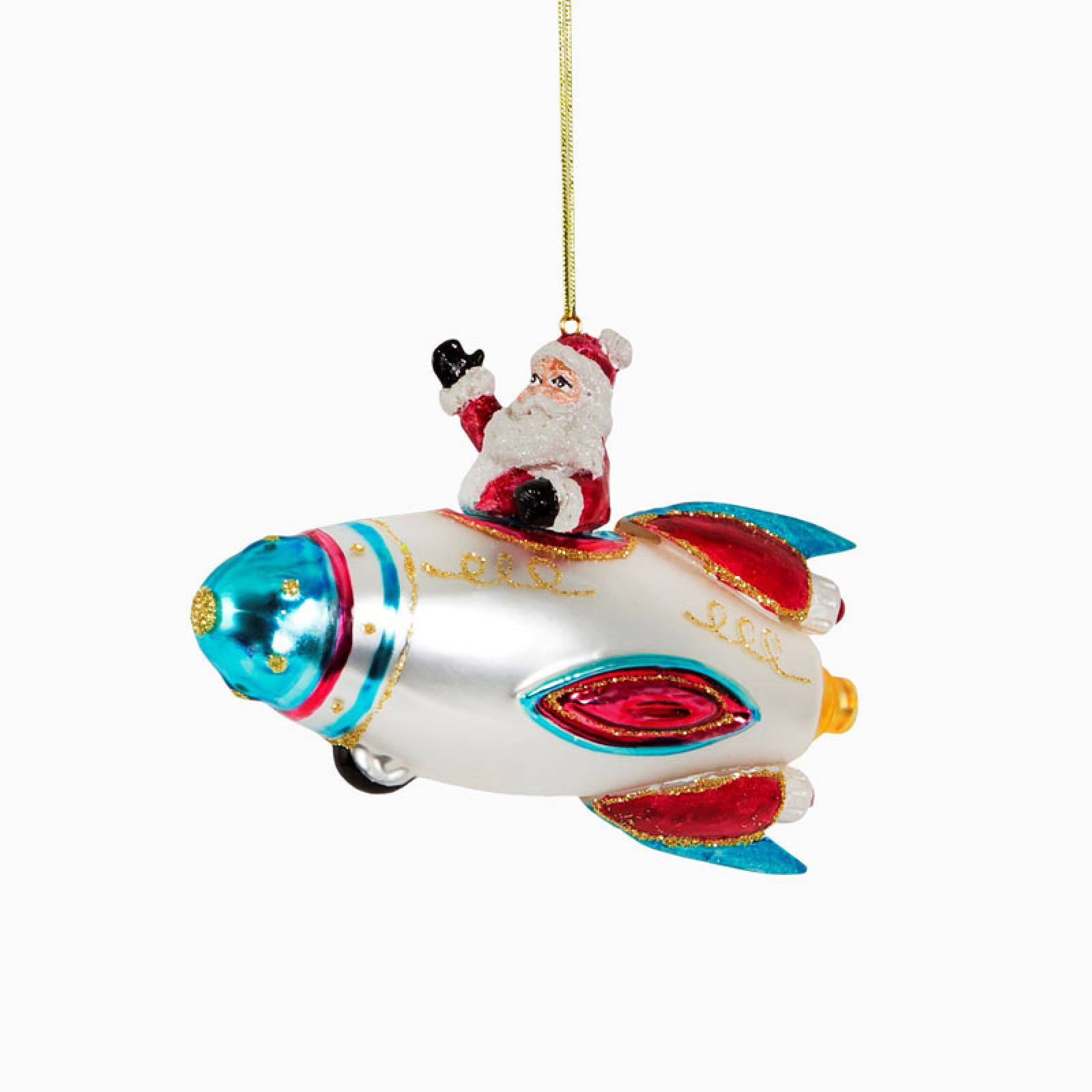 Santa In Spaceship Glass Christmas Decoration