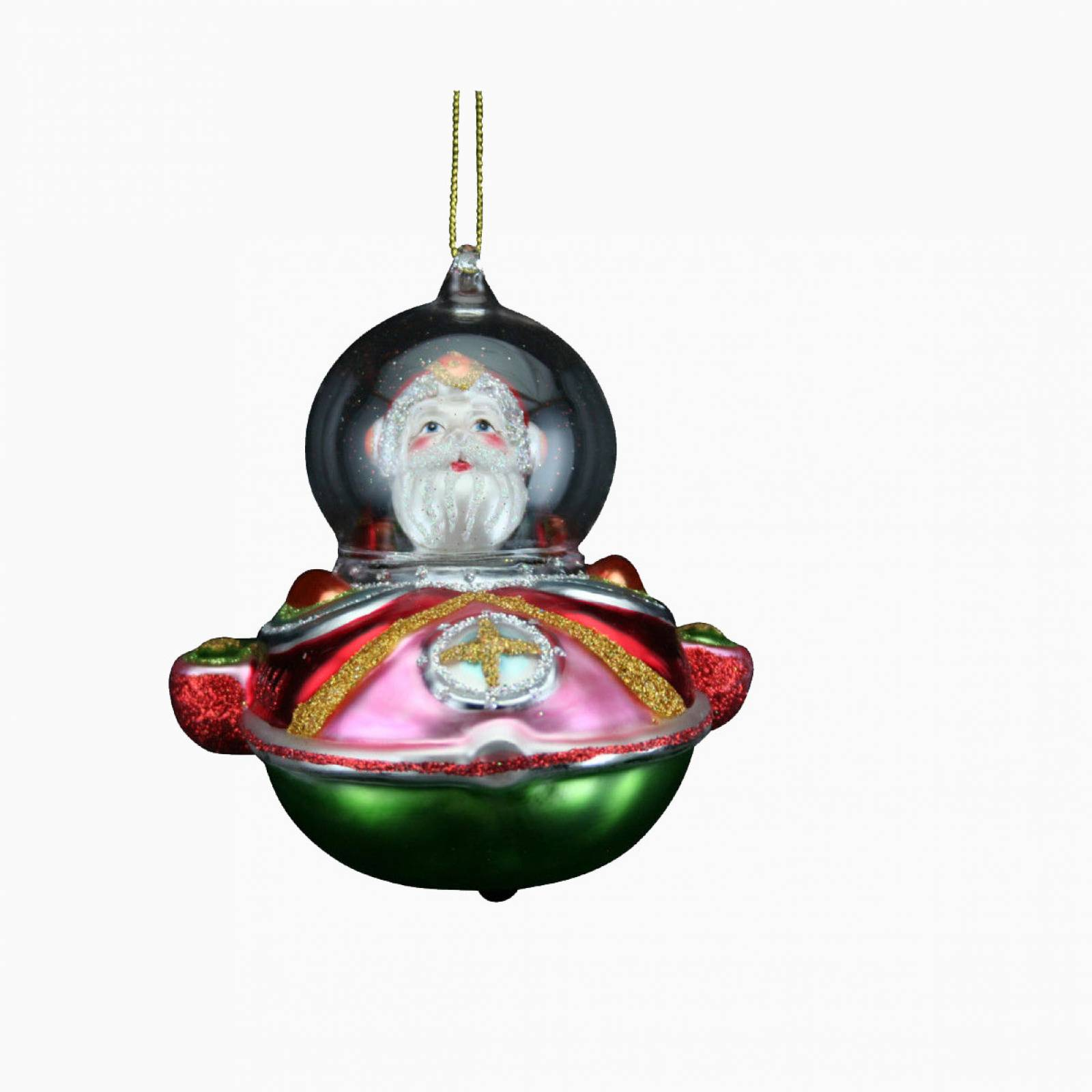 Glass Santa In Spaceship Christmas Decoration