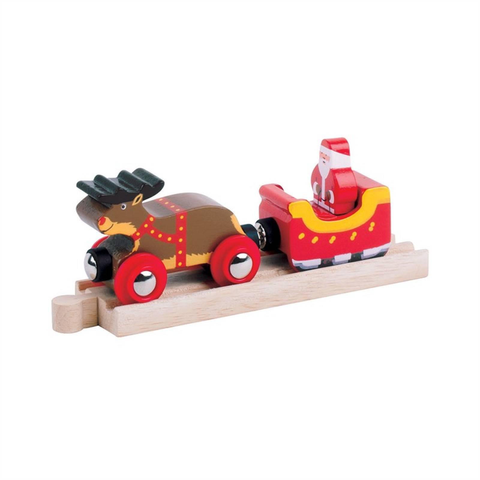 Santa Sleigh & Reindeer Wooden Train Figures & Track
