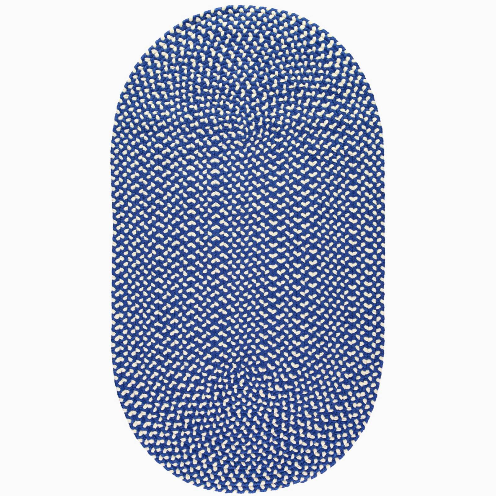 Sapphire Cream Oval Braided Rug Recycled Plastic 69x122cm