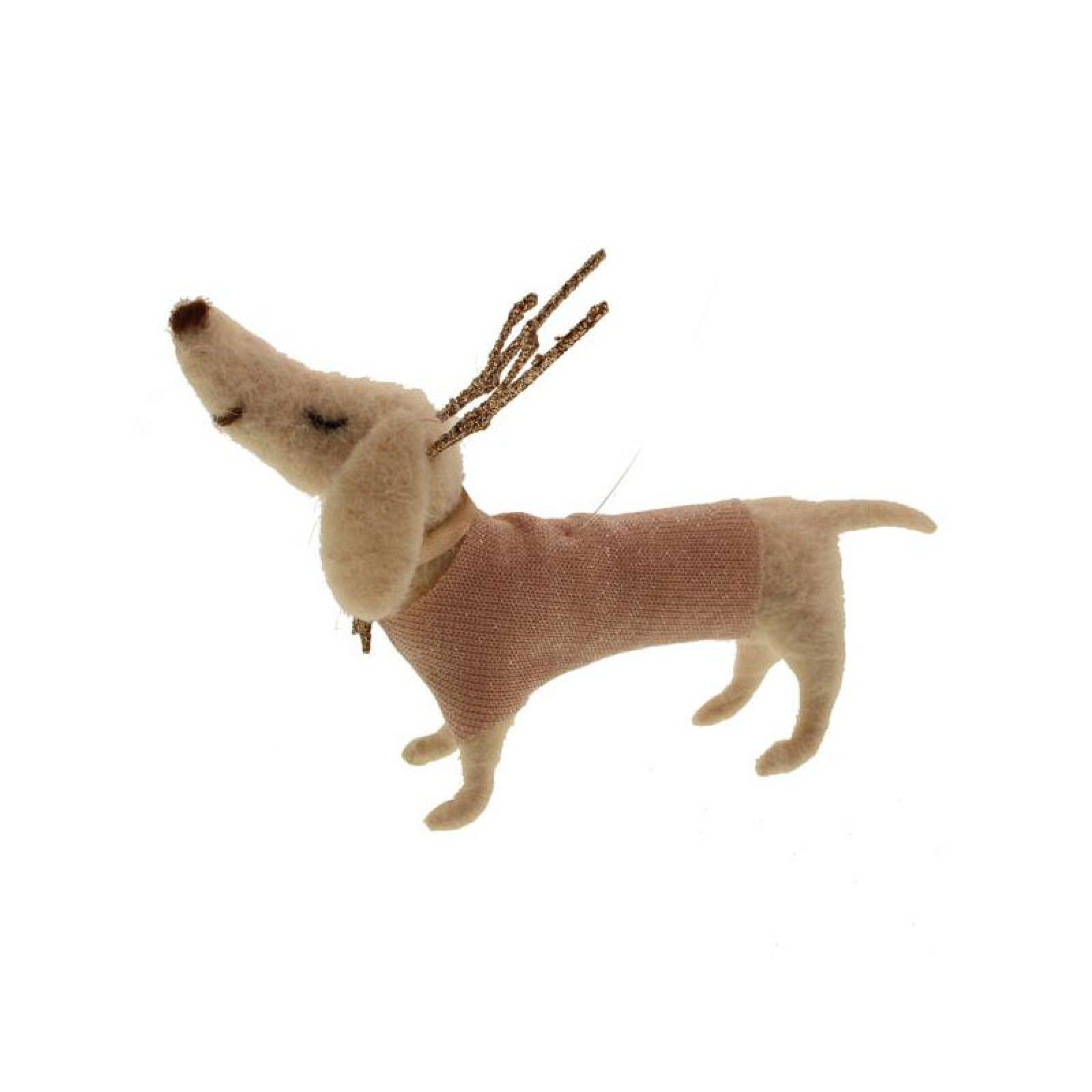 Sausage Dog With Antlers Felt Hanging Christmas Decoration