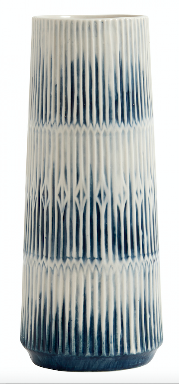 Tall Blue And White Slim Tapered Vase thumbnails