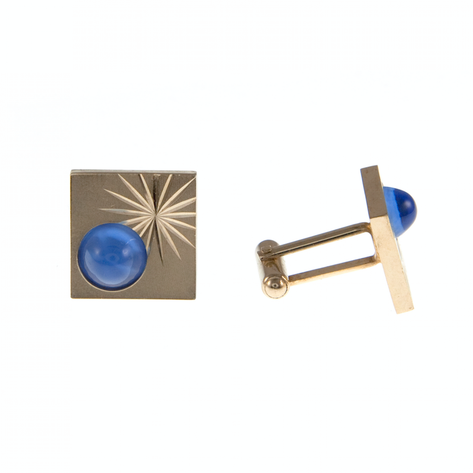 Vintage 1950s Square Gold Plated Cufflinks With Blue Stone thumbnails