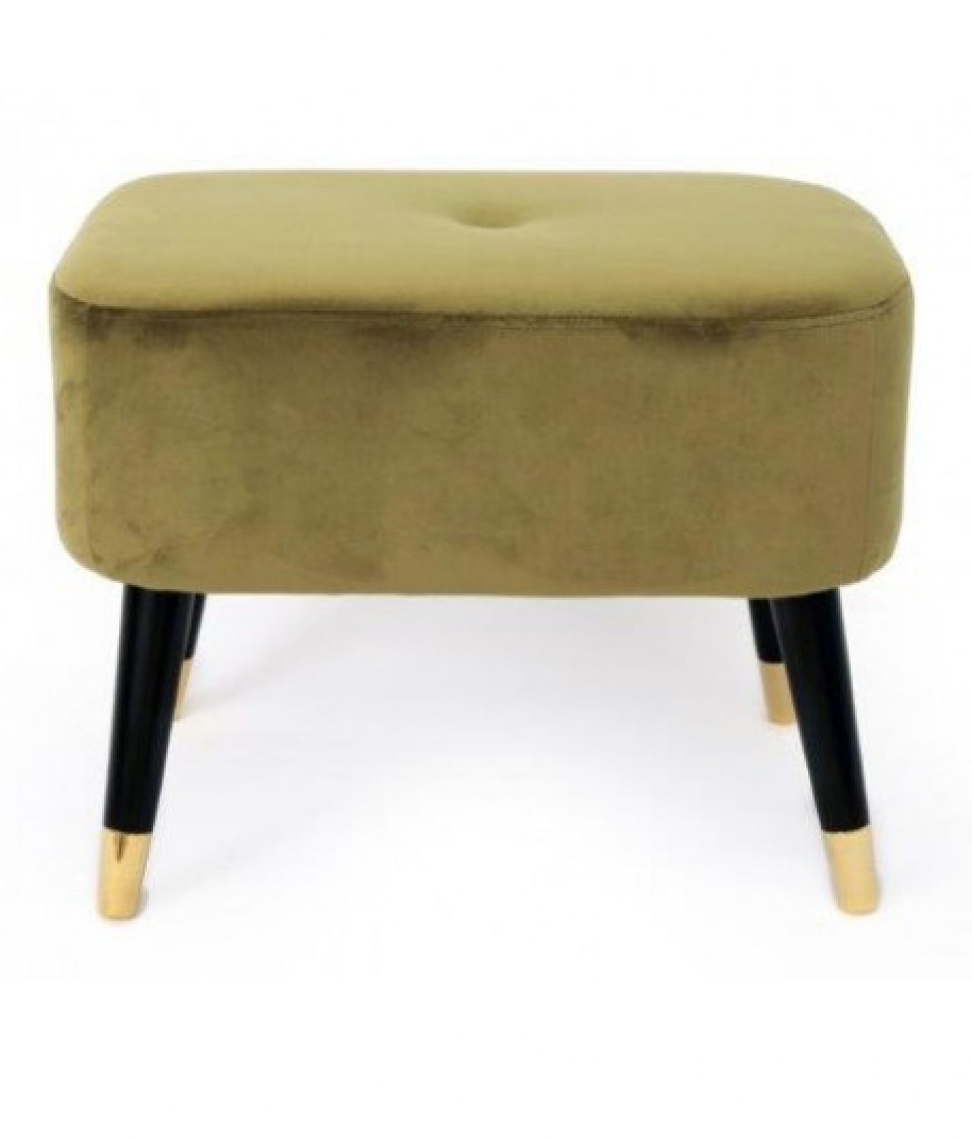 Green Velvet Rectangular Stool With Black Wooden Legs