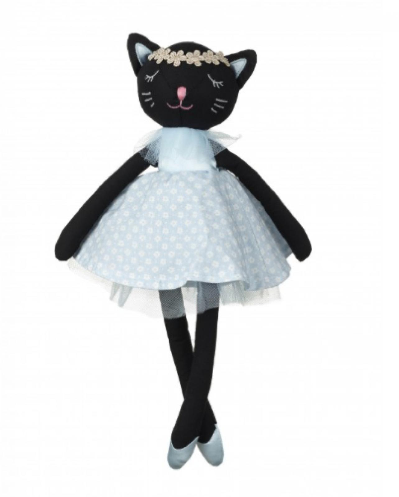 Black Cat Soft Toy With Blue Dot Dress