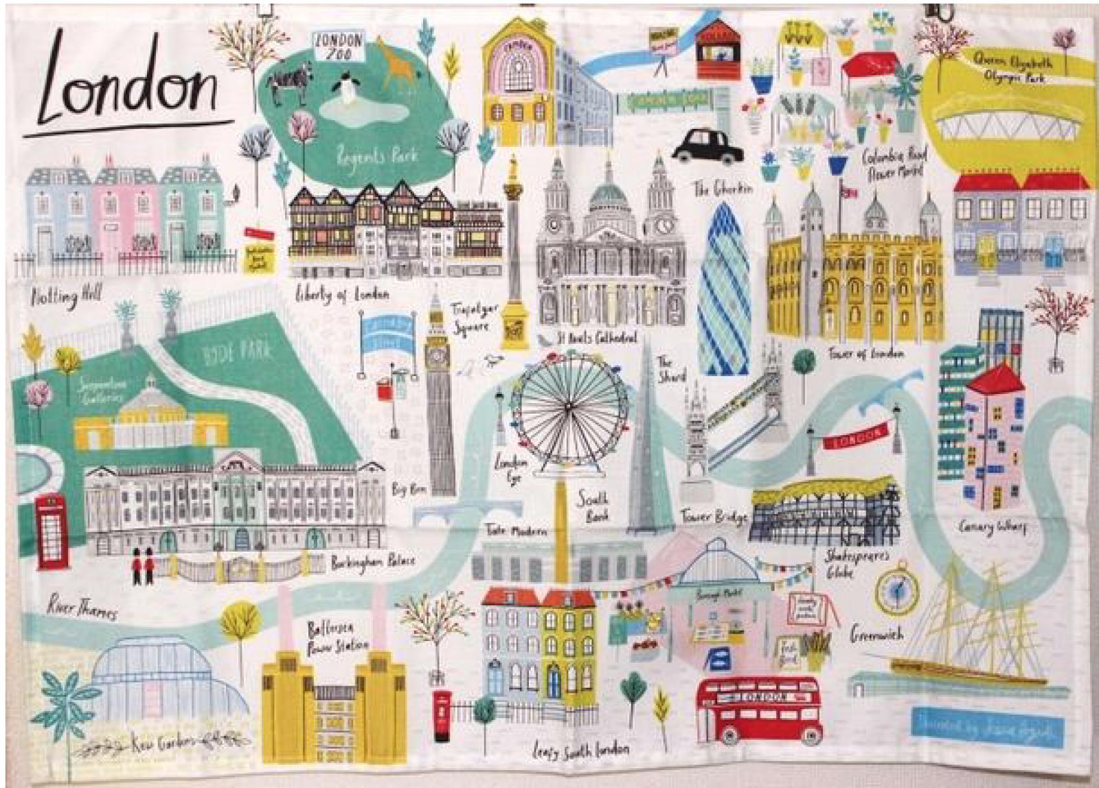 London Tea Towel By Jessica Hogath