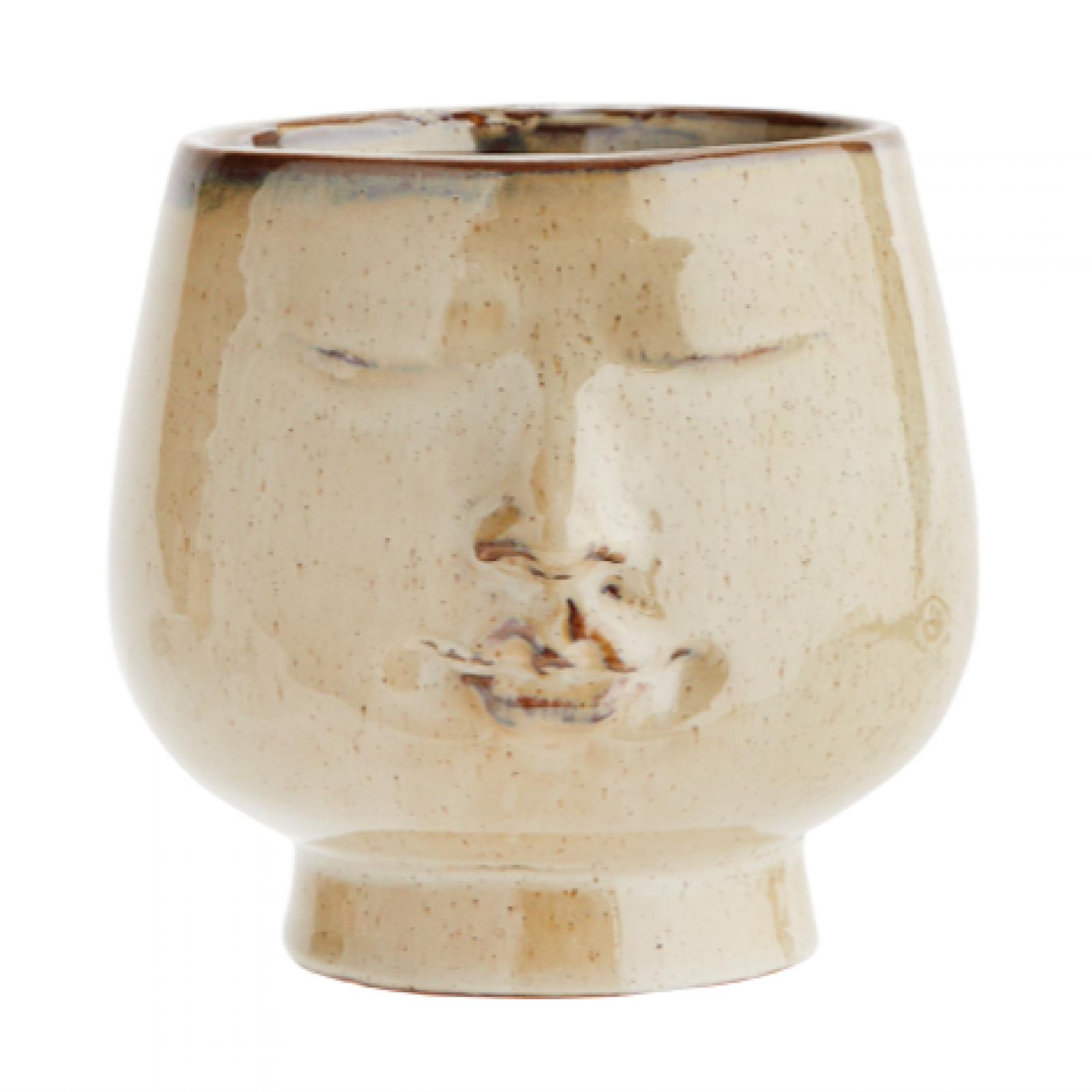Cream Stoneware Round Face Vase 14cm