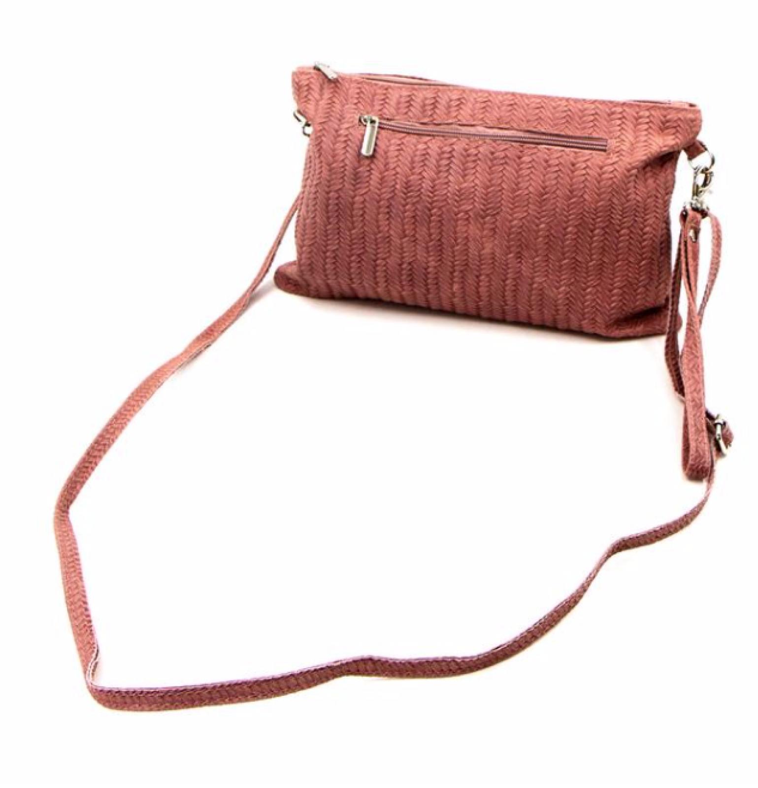 Leather Woven Crossbody Handbag - Blush thumbnails
