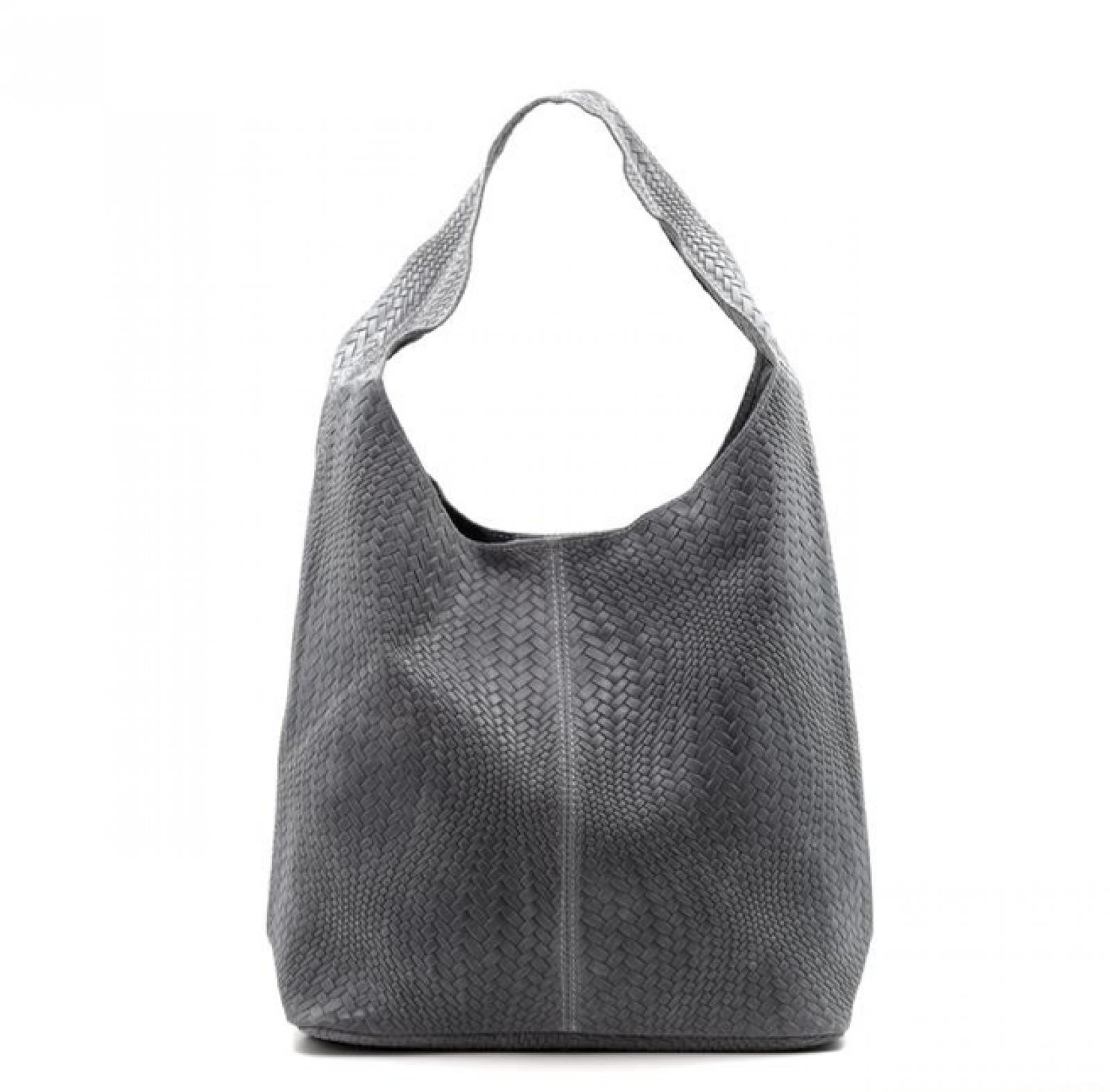Leather Woven Large Handbag - Dark Grey