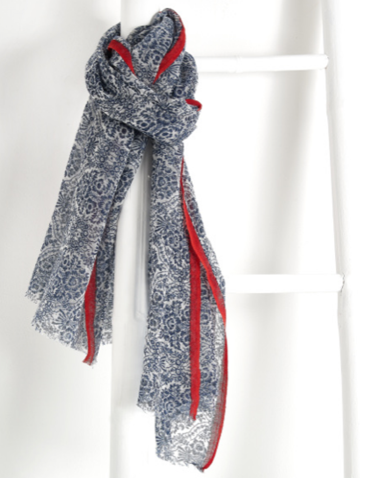 Navy Damask Print Wool Scarf By Jo Edwards thumbnails