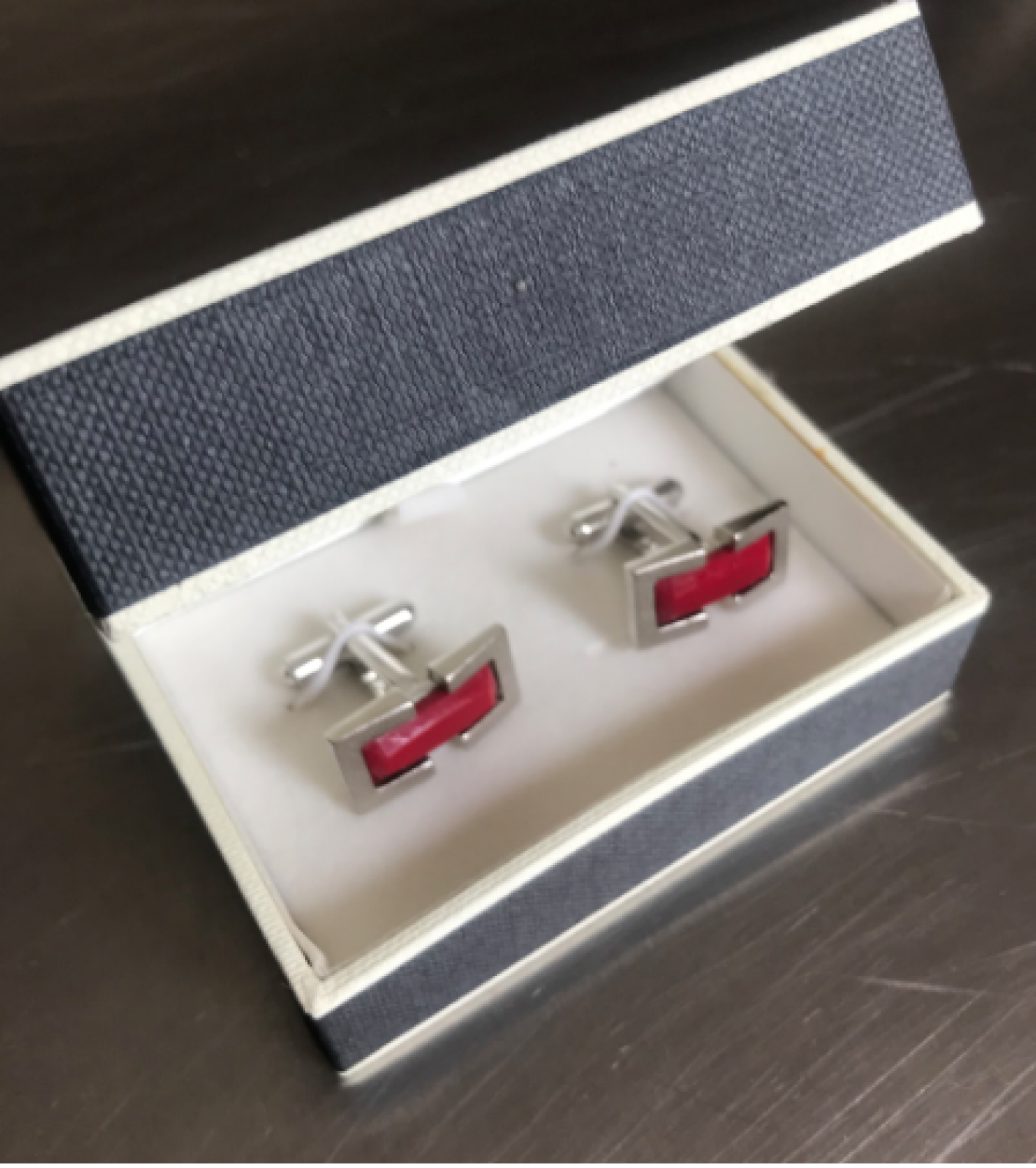 Vintage 1980s Satin Chrome Oblong Cufflinks With Red Glass thumbnails